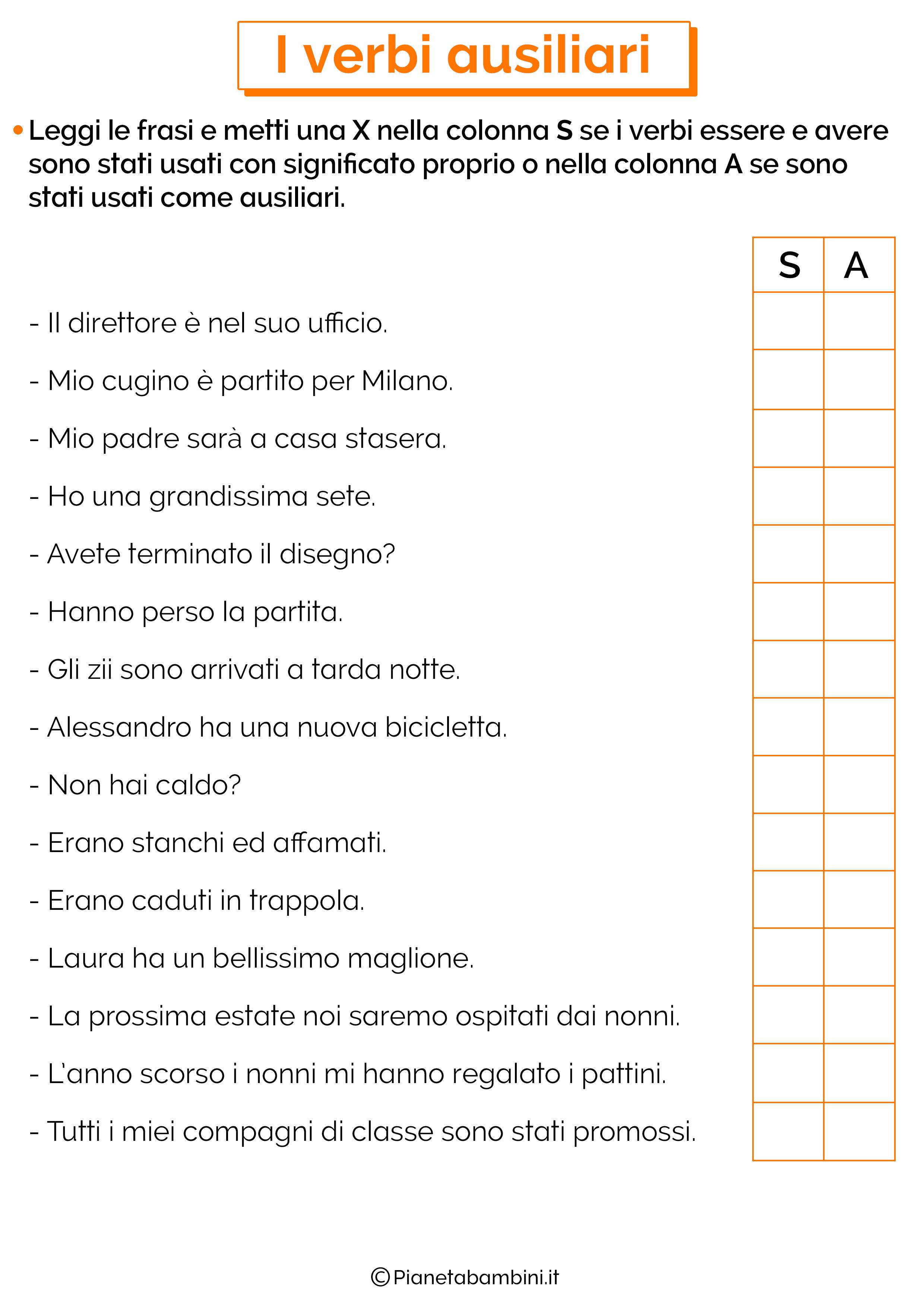 Esercizi sui verbi ausiliari 2