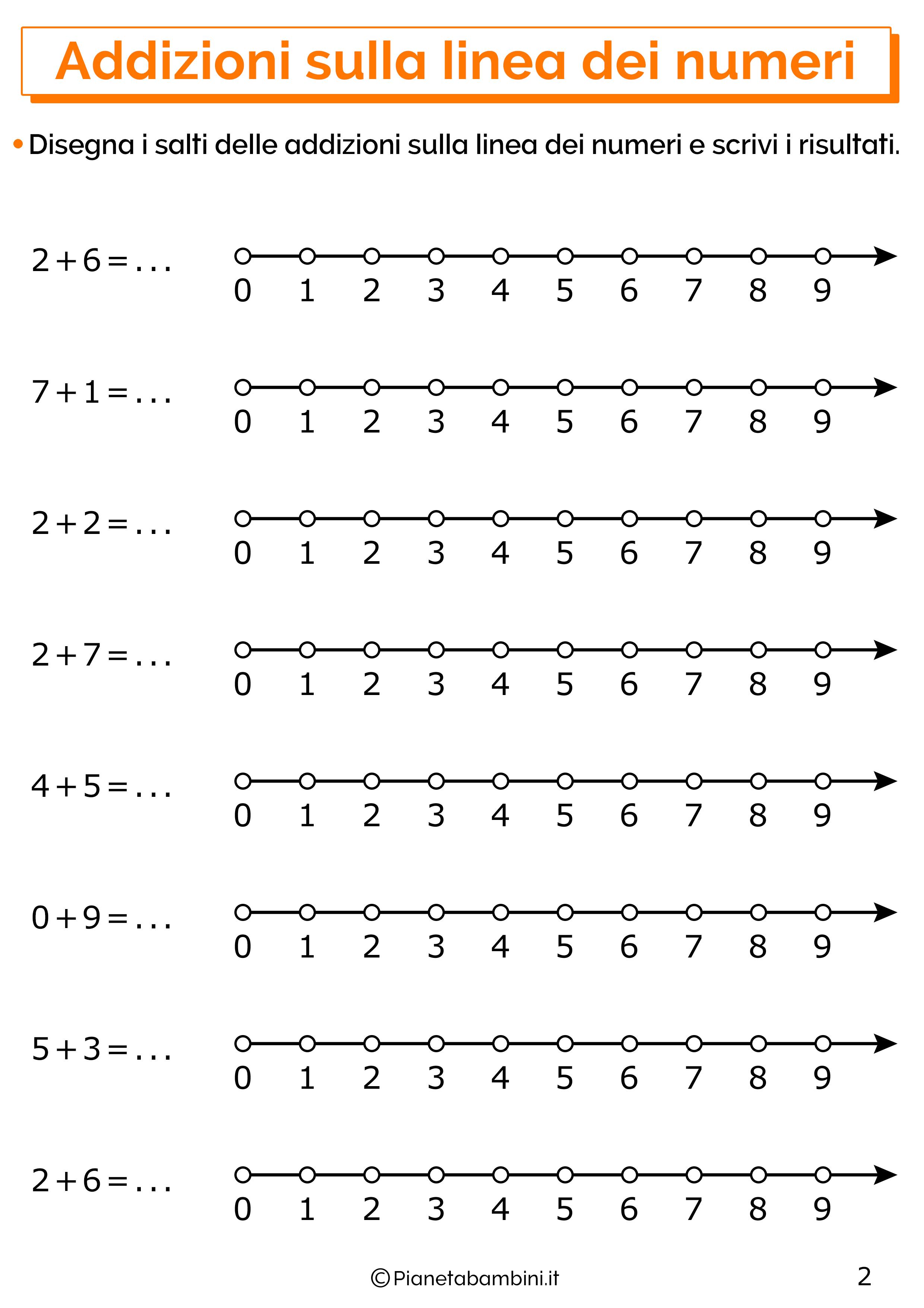 Esercizi con addizioni sulla linea dei numeri 02