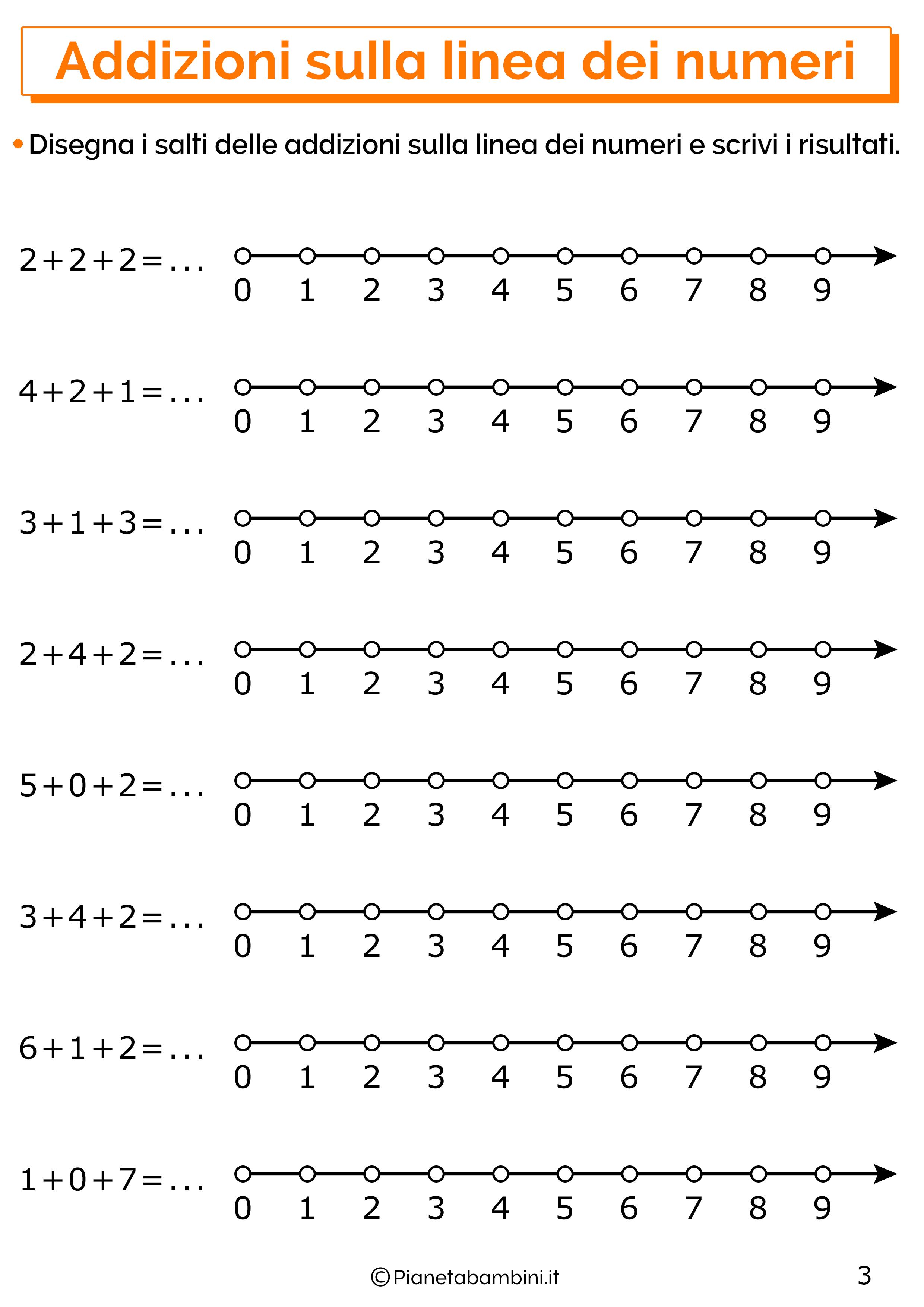 Esercizi con addizioni sulla linea dei numeri 03
