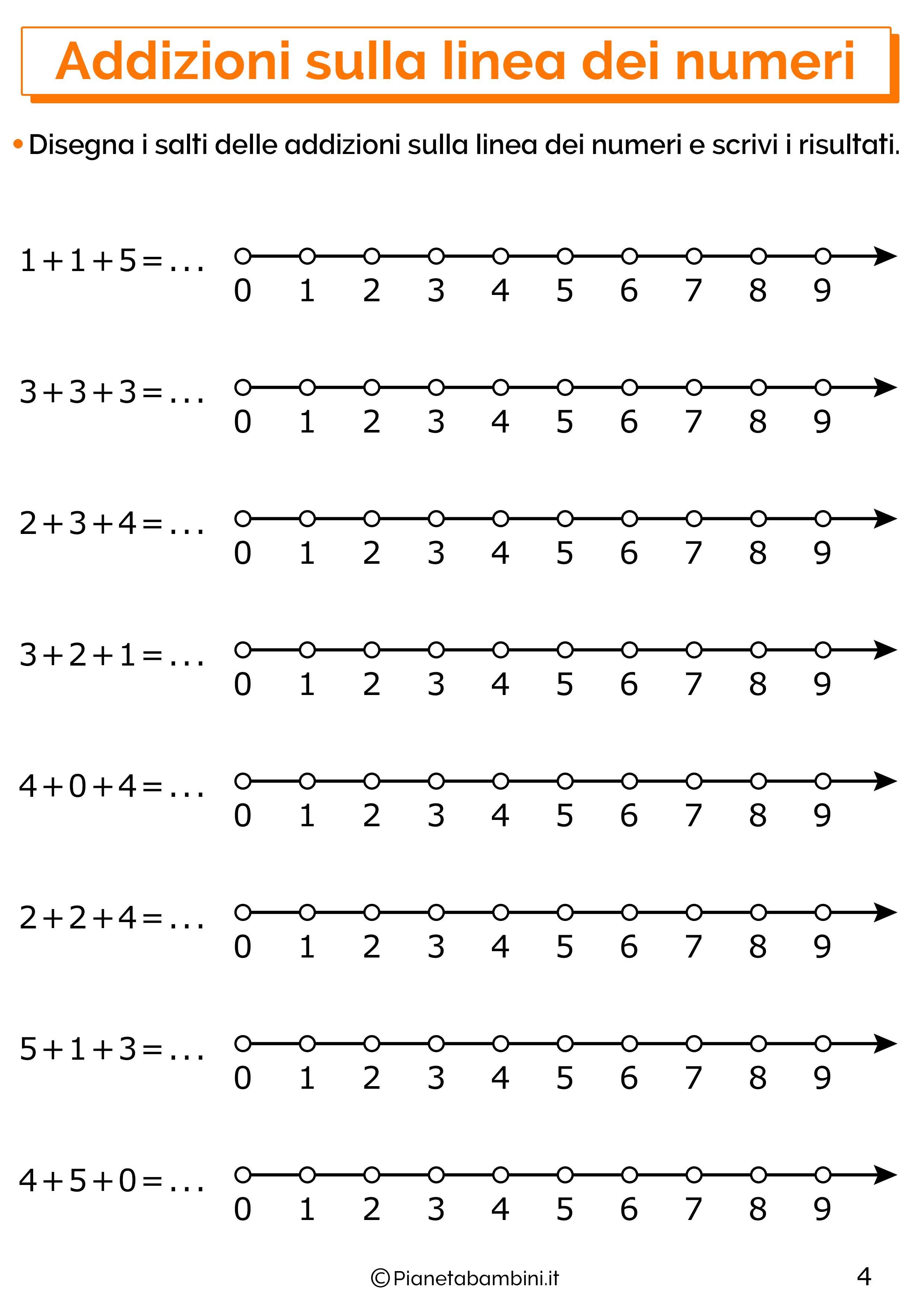 Esercizi con addizioni sulla linea dei numeri 04