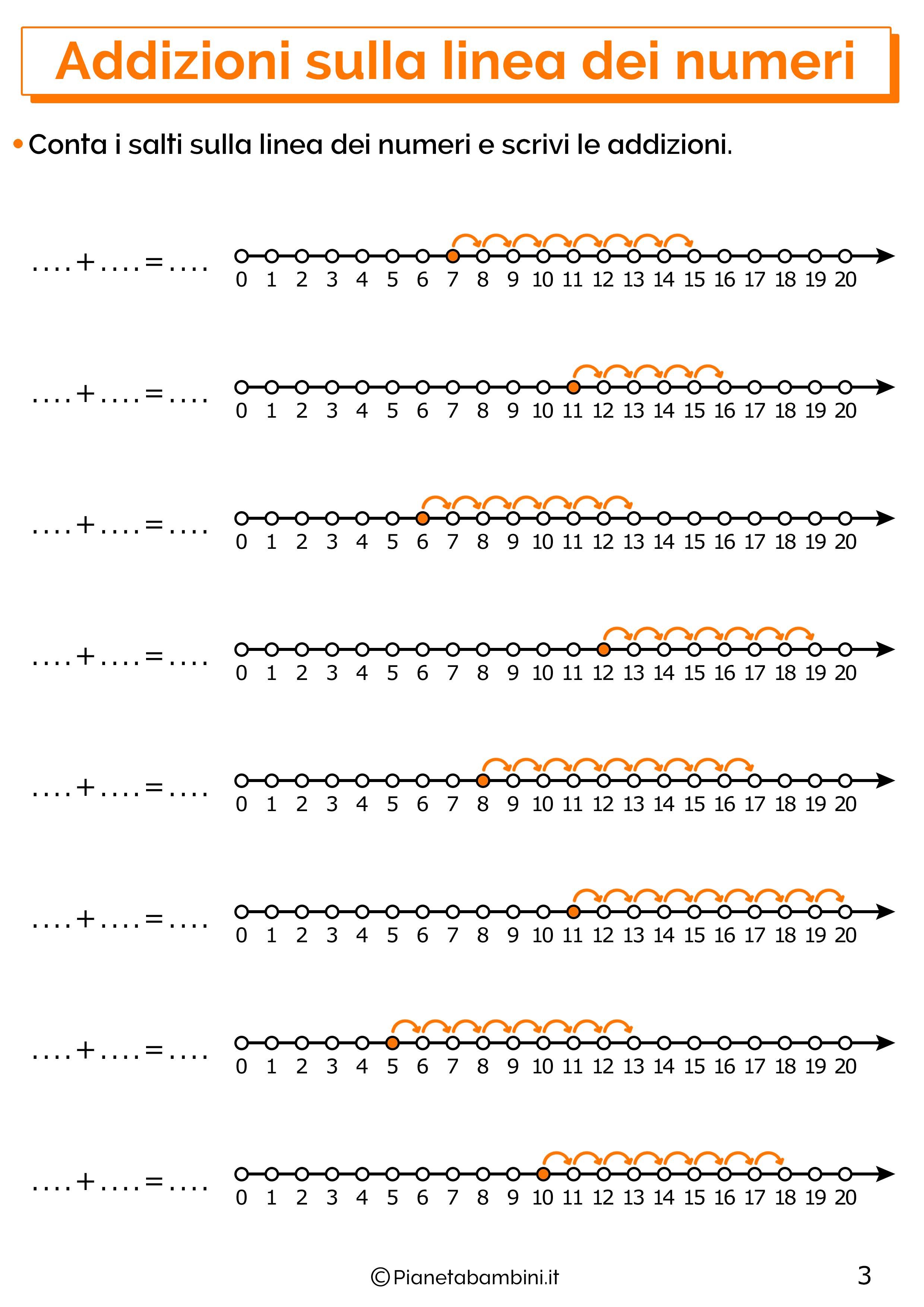 Esercizi sulle addizioni sulla linea dei numeri entro il venti 3