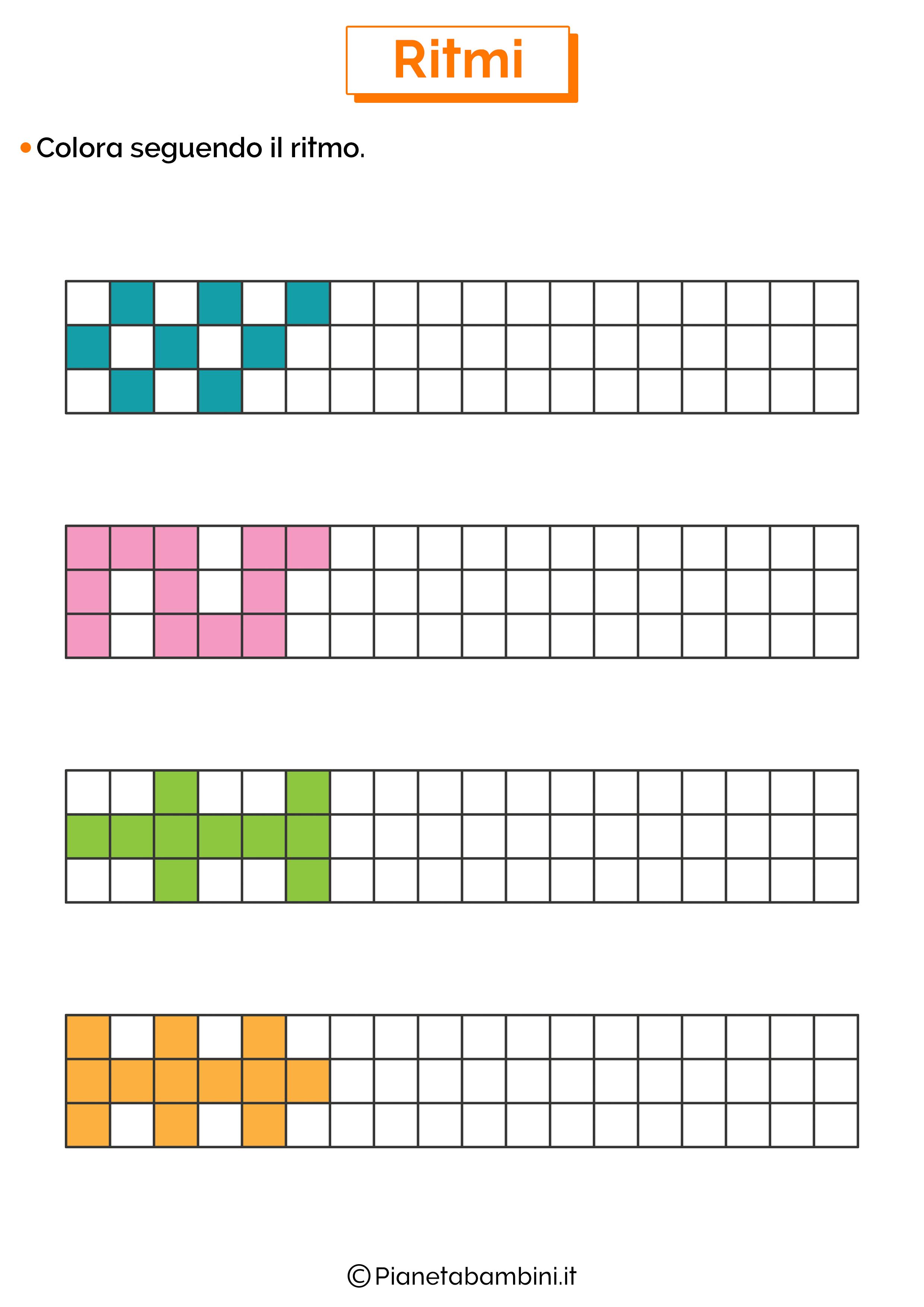 Esercizi sui ritmi da colorare 1