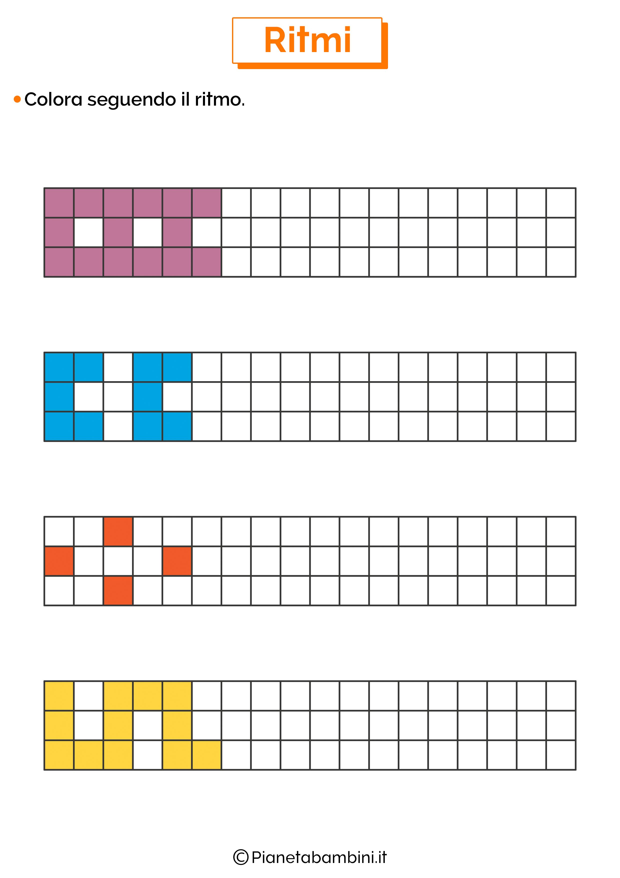 Esercizi sui ritmi da colorare 2