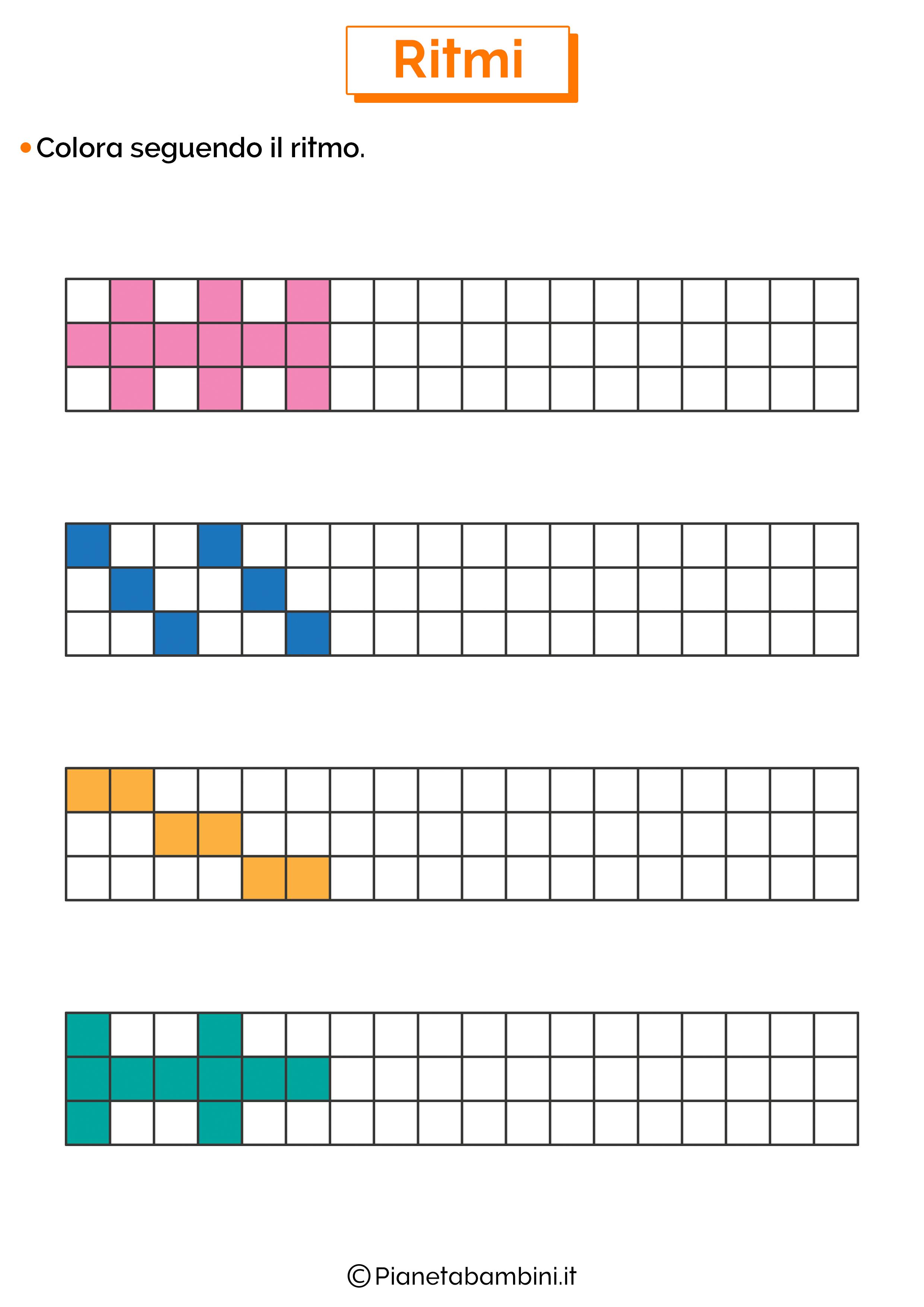 Esercizi sui ritmi da colorare 3