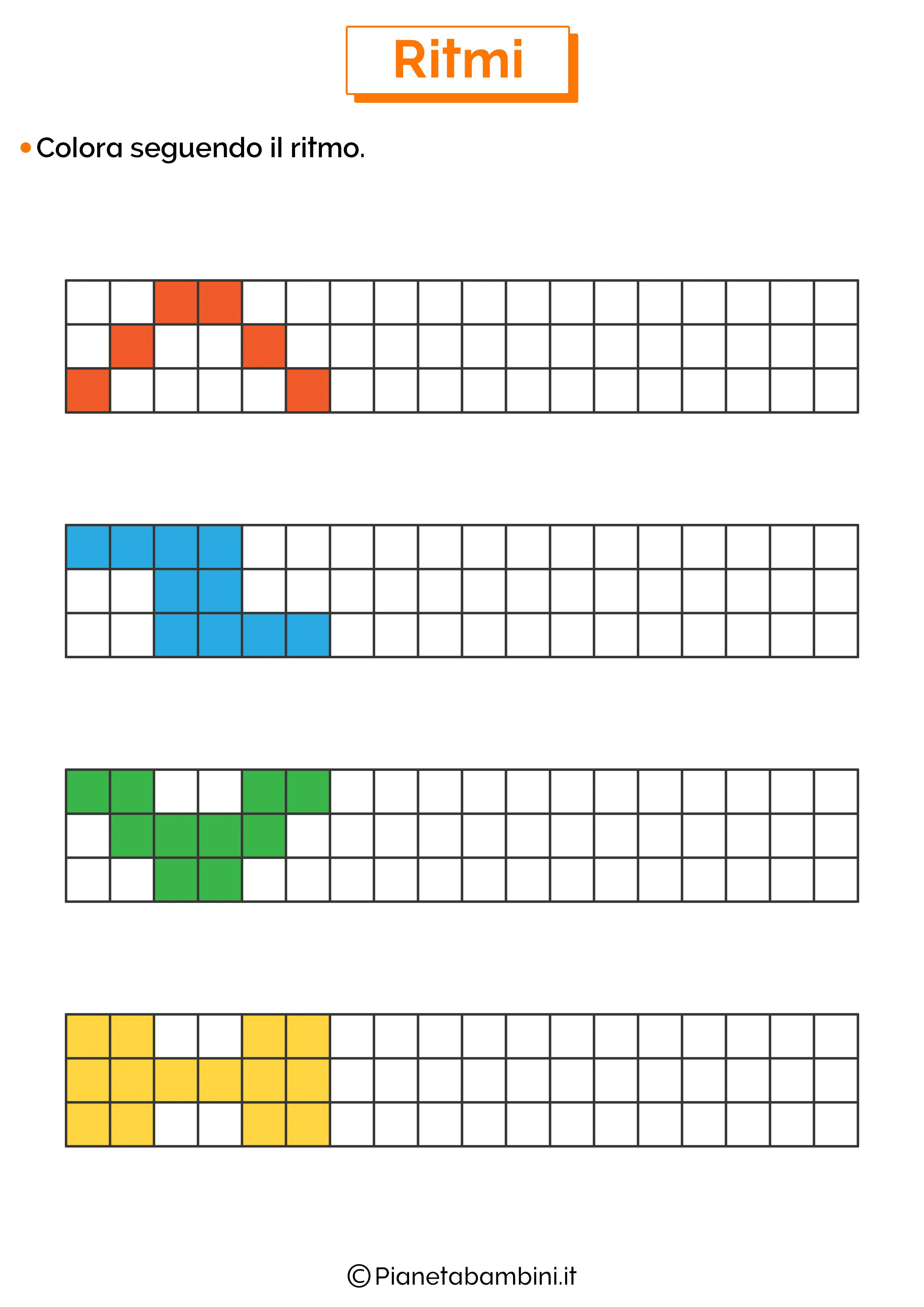 Esercizi sui ritmi da colorare 4