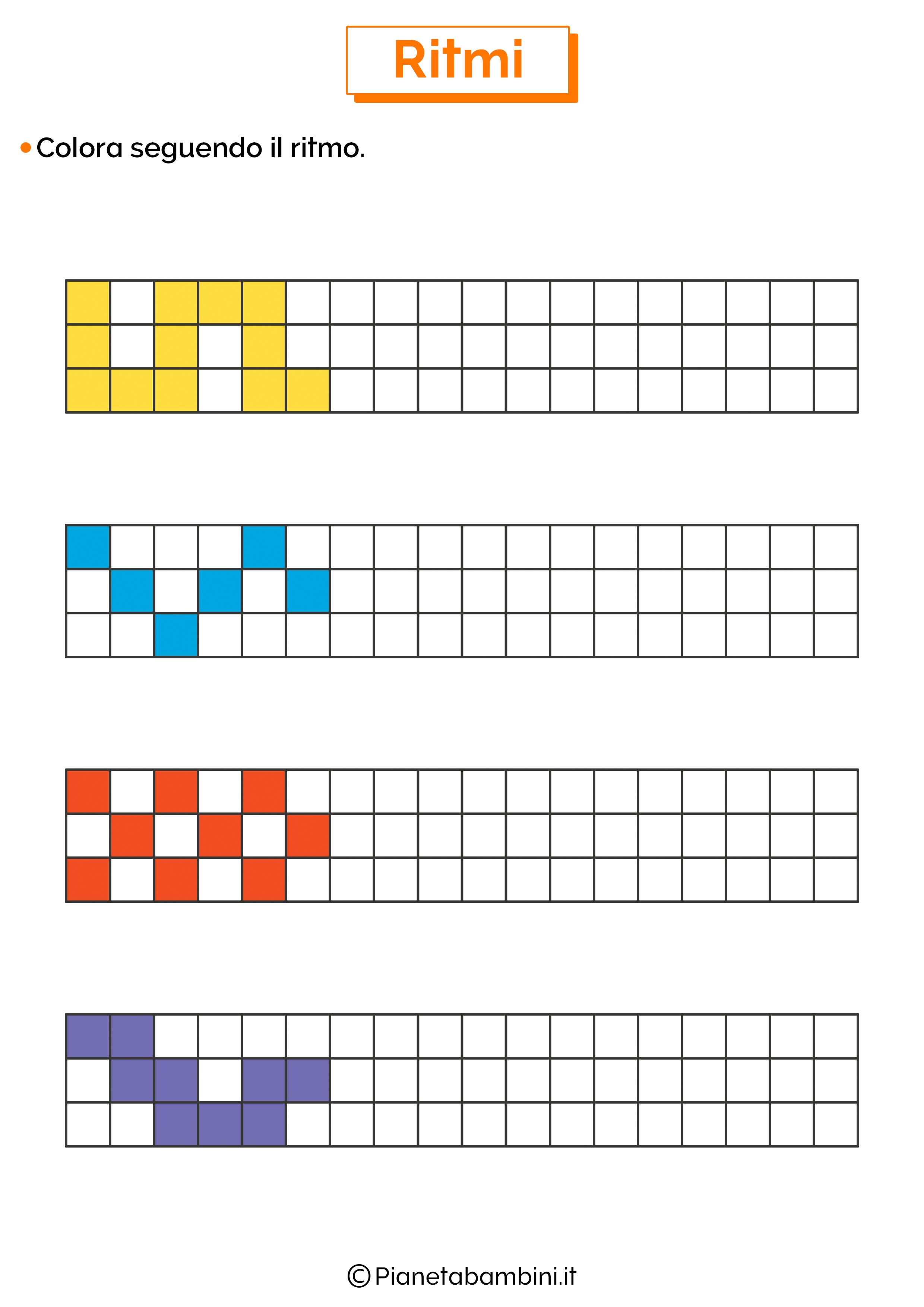 Esercizi sui ritmi da colorare 5