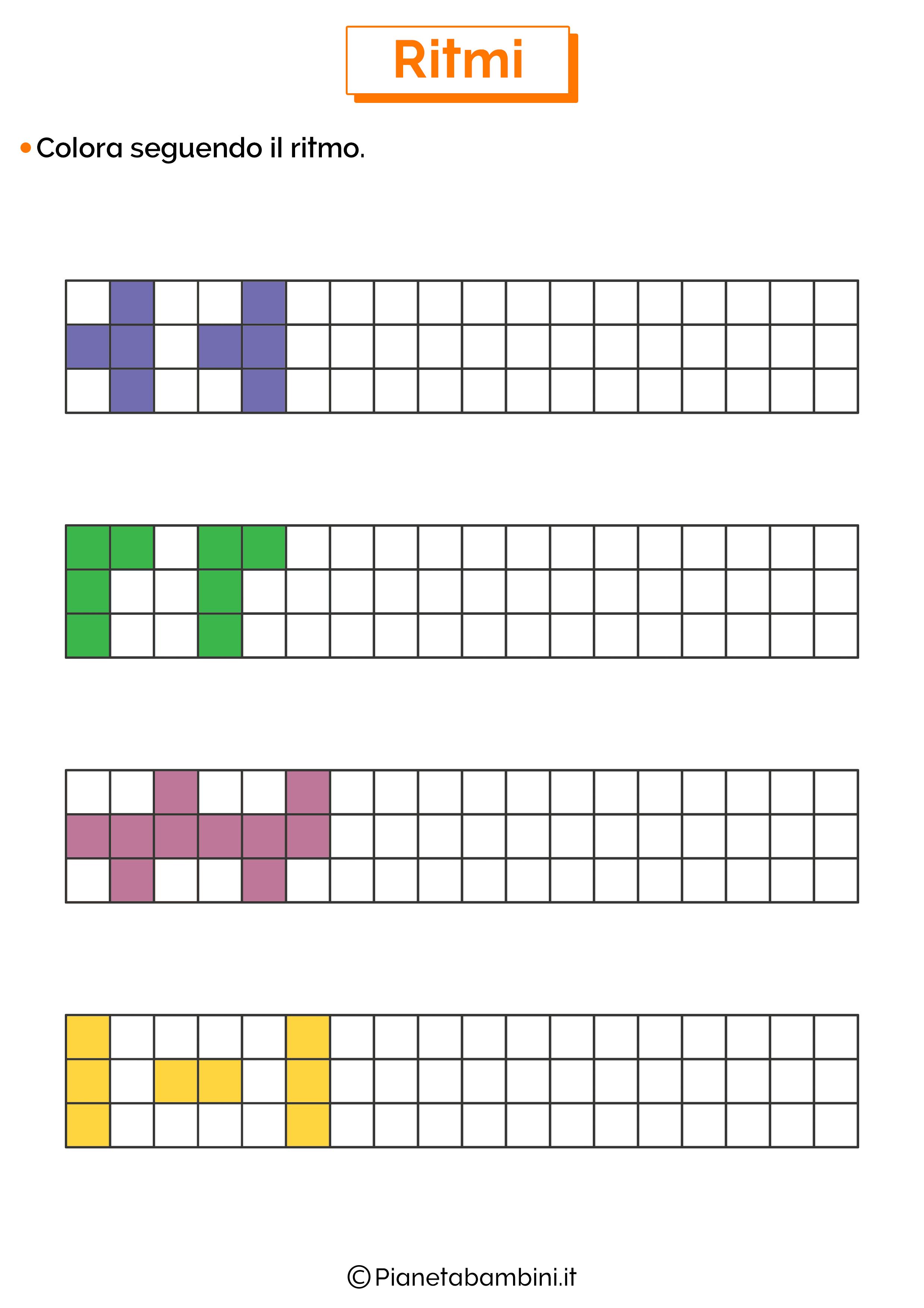 Esercizi sui ritmi da colorare 6
