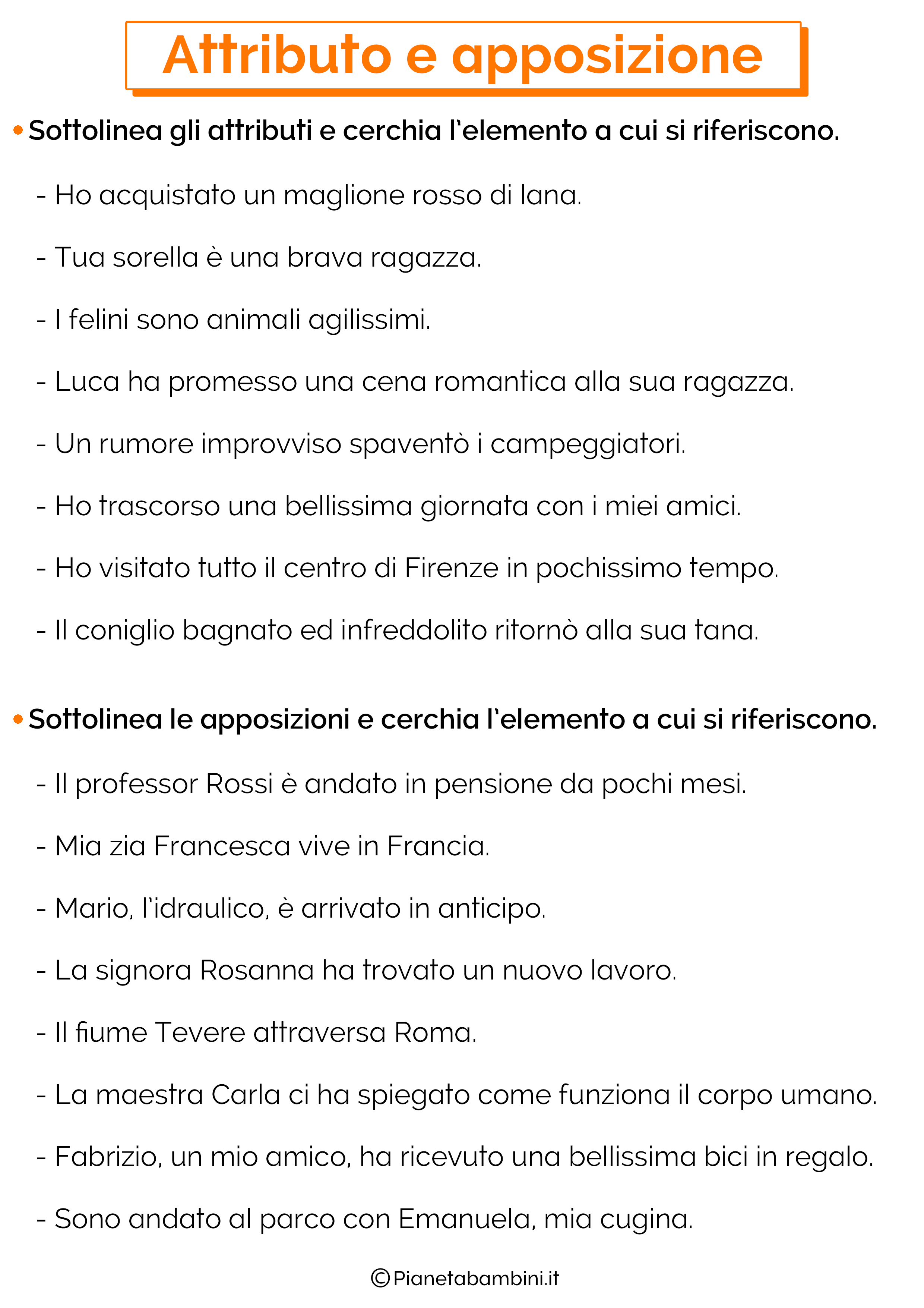 Esercizi su attributo e apposizione 1