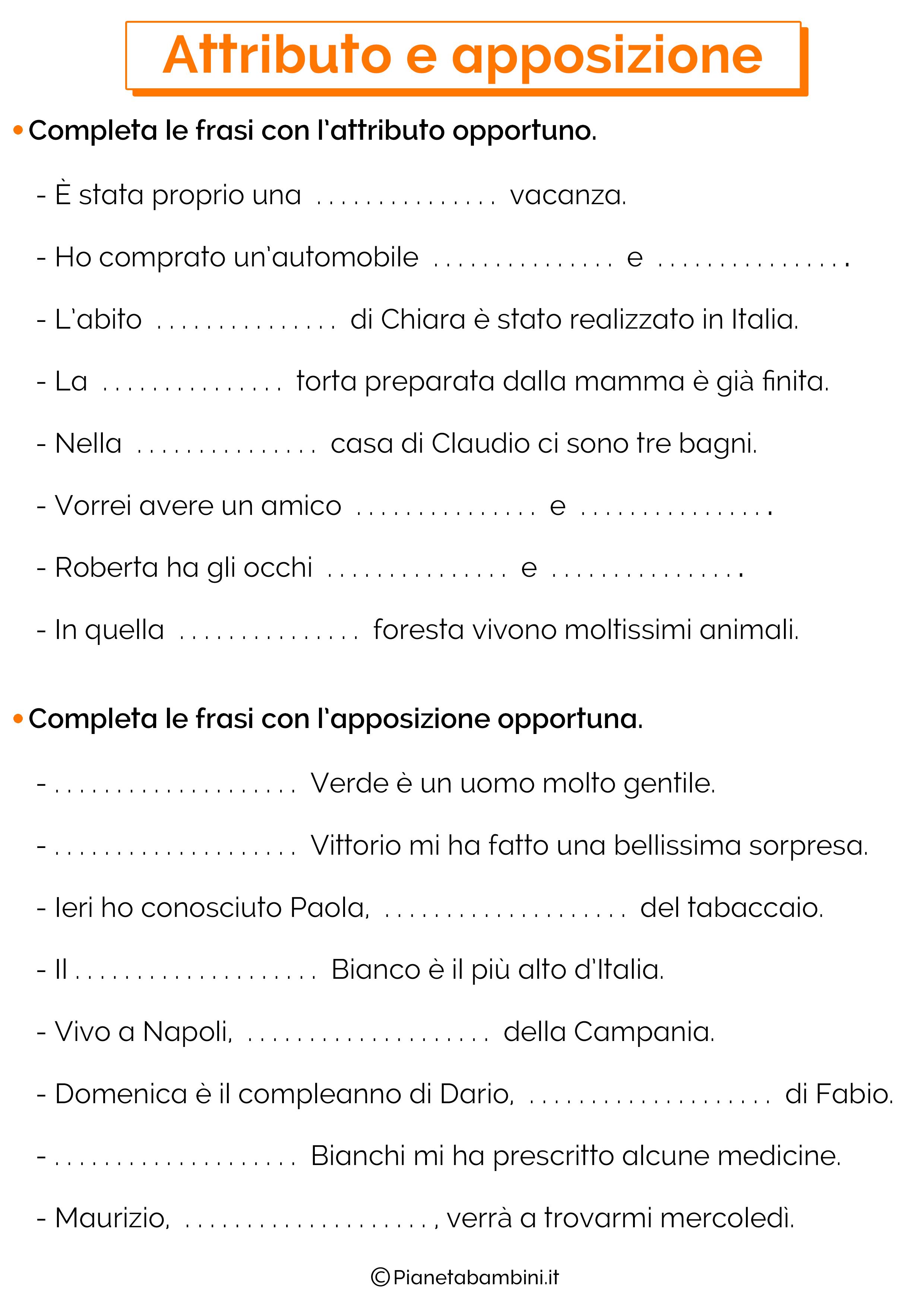Esercizi su attributo e apposizione 2
