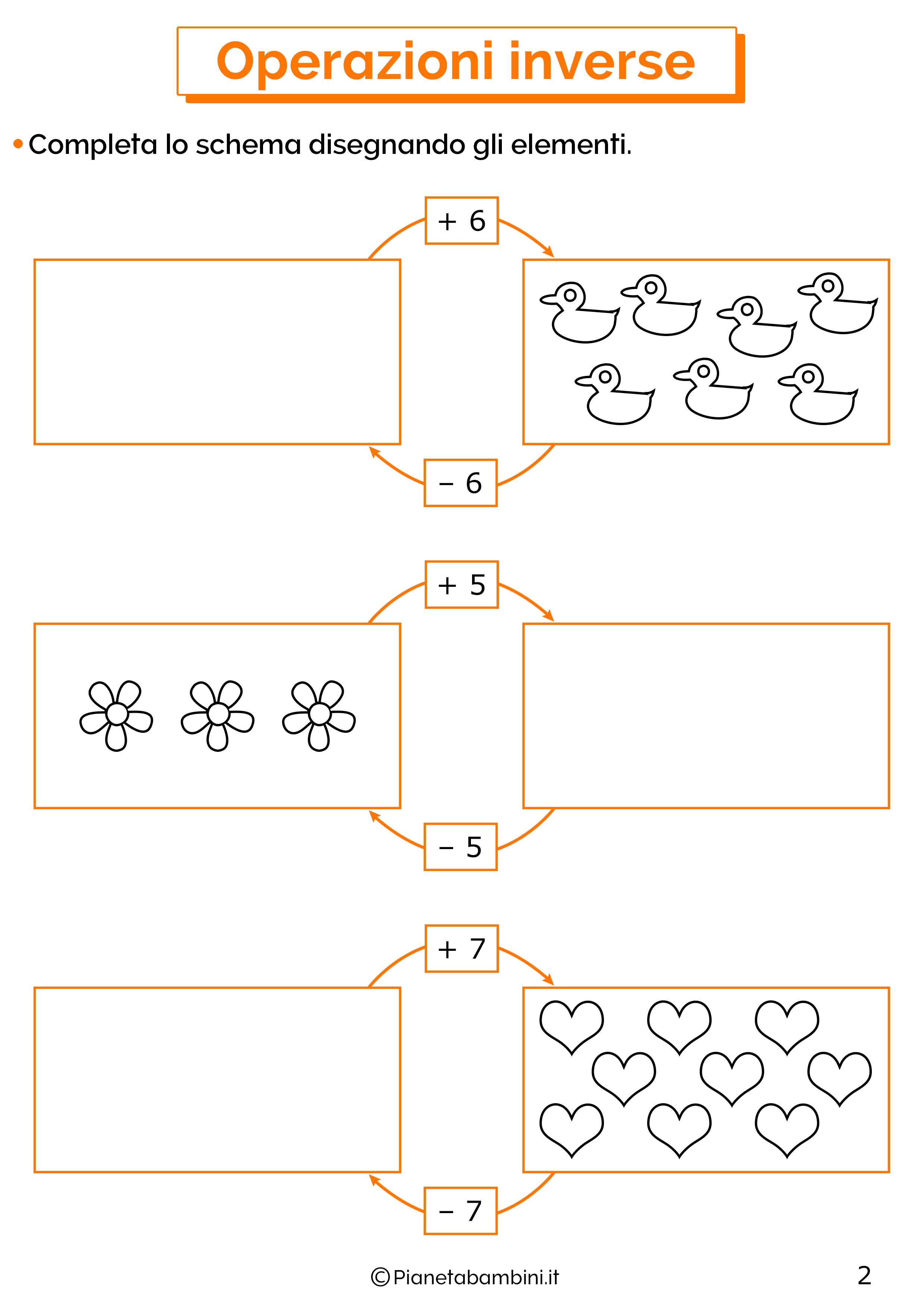 Schede didattiche sulle operazioni inverse 02