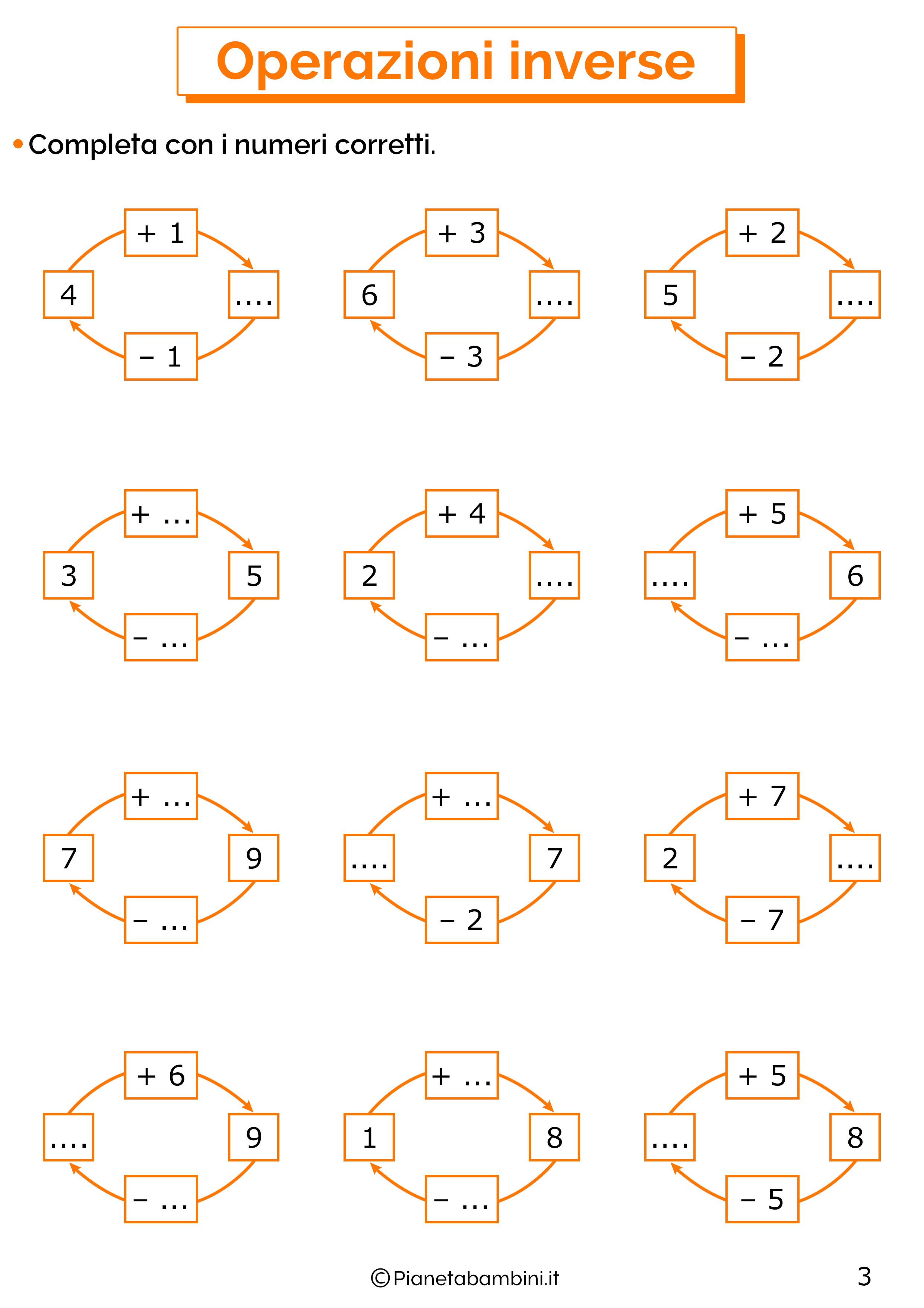 Schede didattiche sulle operazioni inverse 03