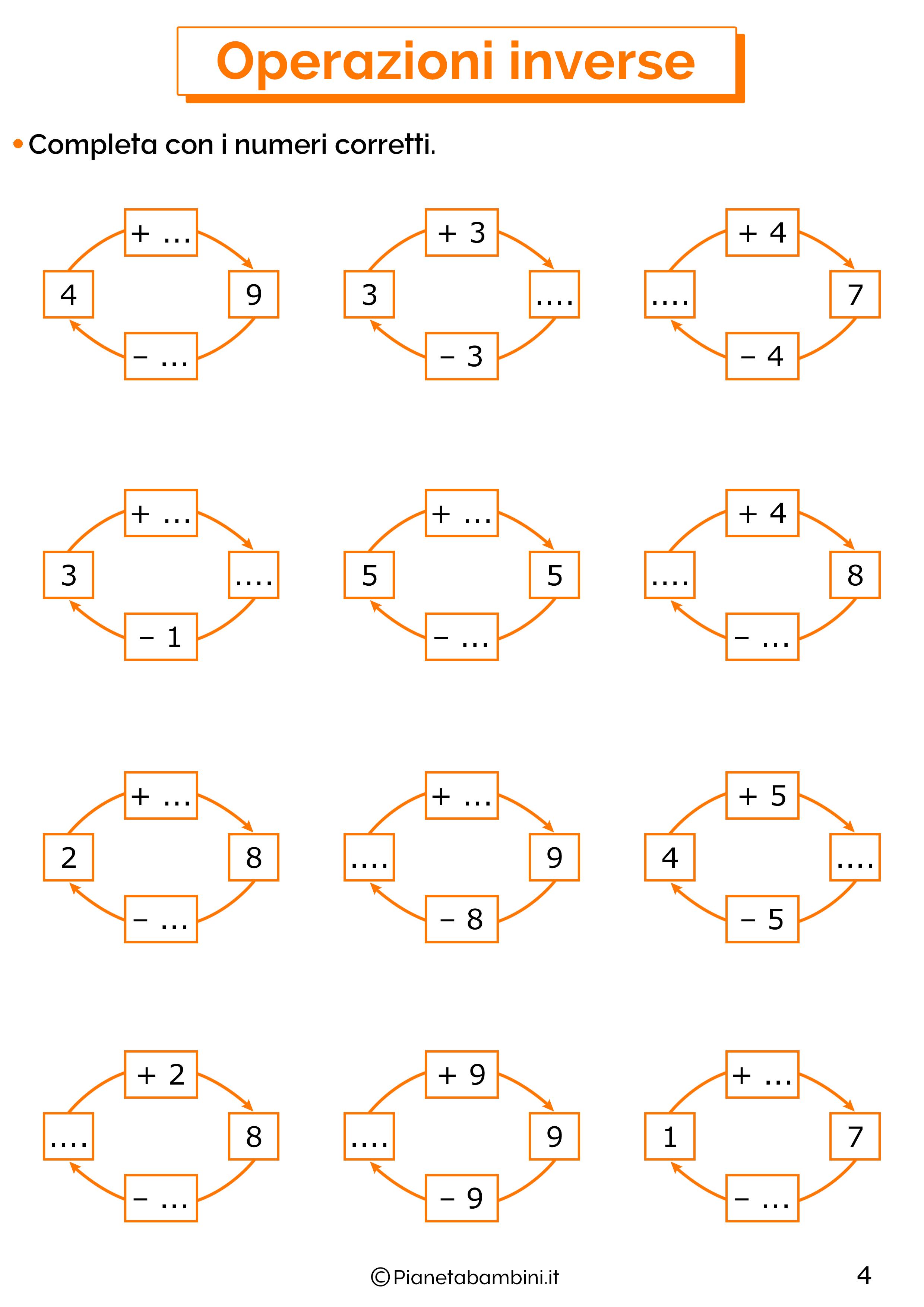 Schede didattiche sulle operazioni inverse 04