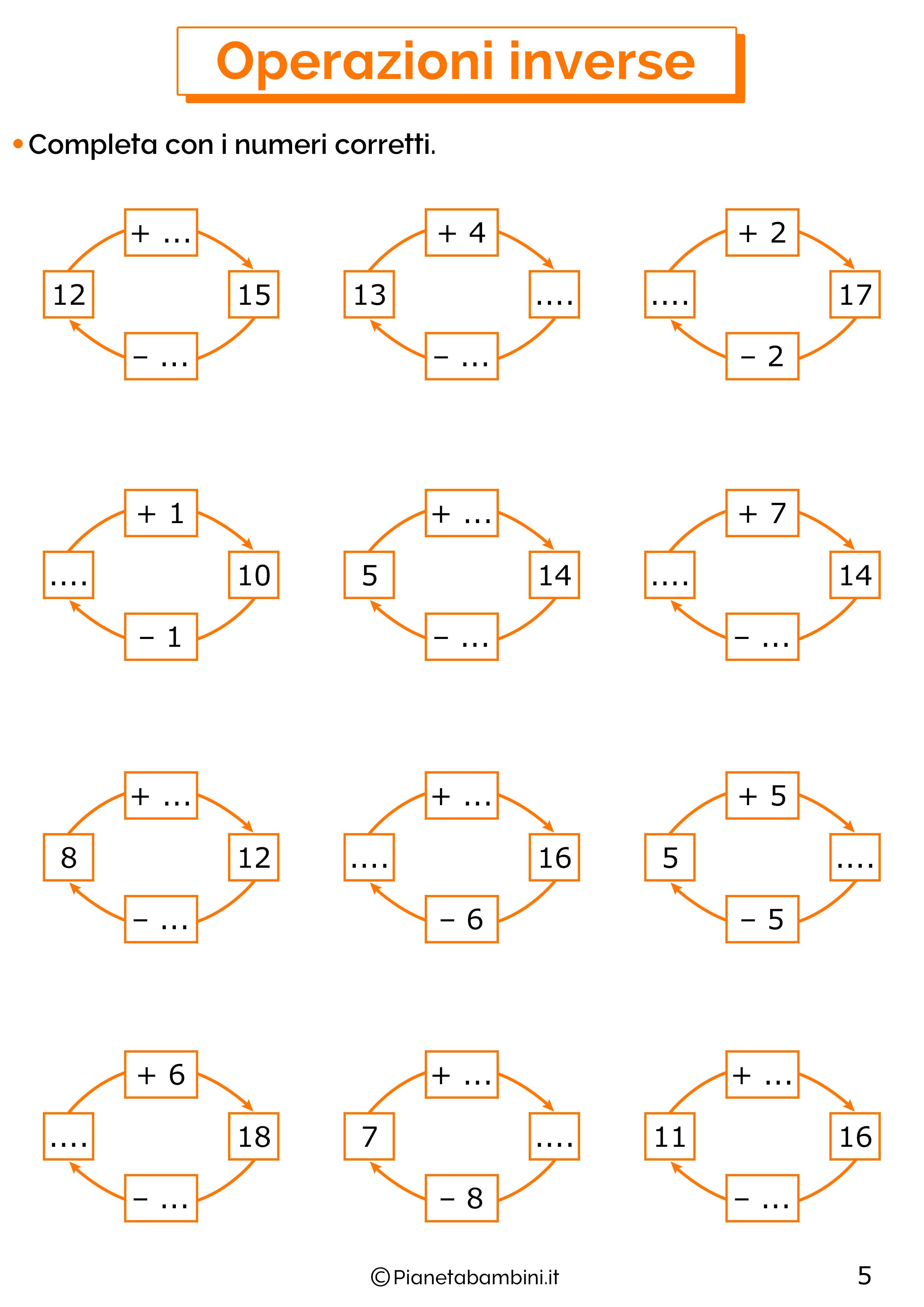 Schede didattiche sulle operazioni inverse 05