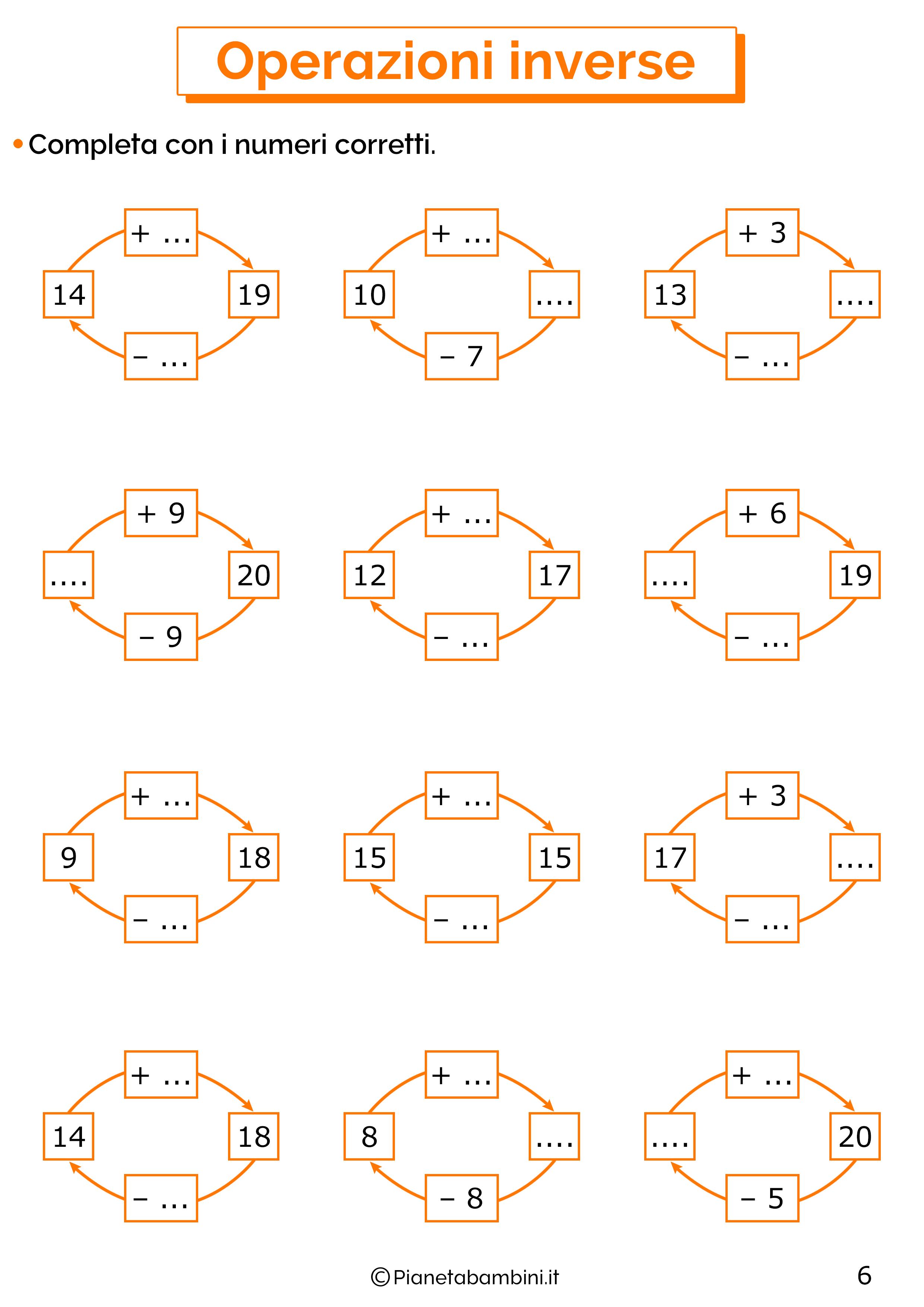 Schede didattiche sulle operazioni inverse 06
