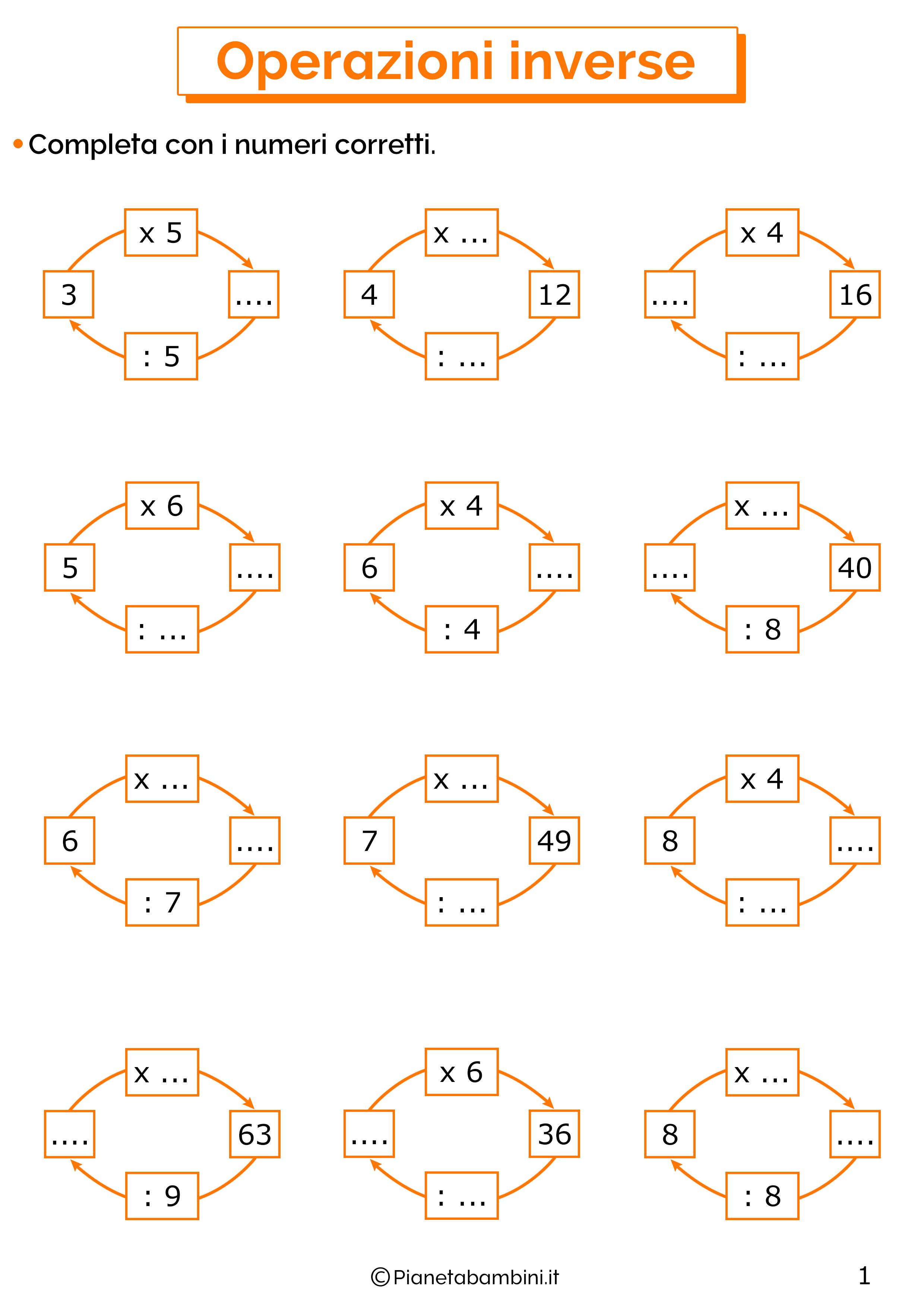 Esercizi sulle operazioni inverse di moltiplicazioni e divisioni 1