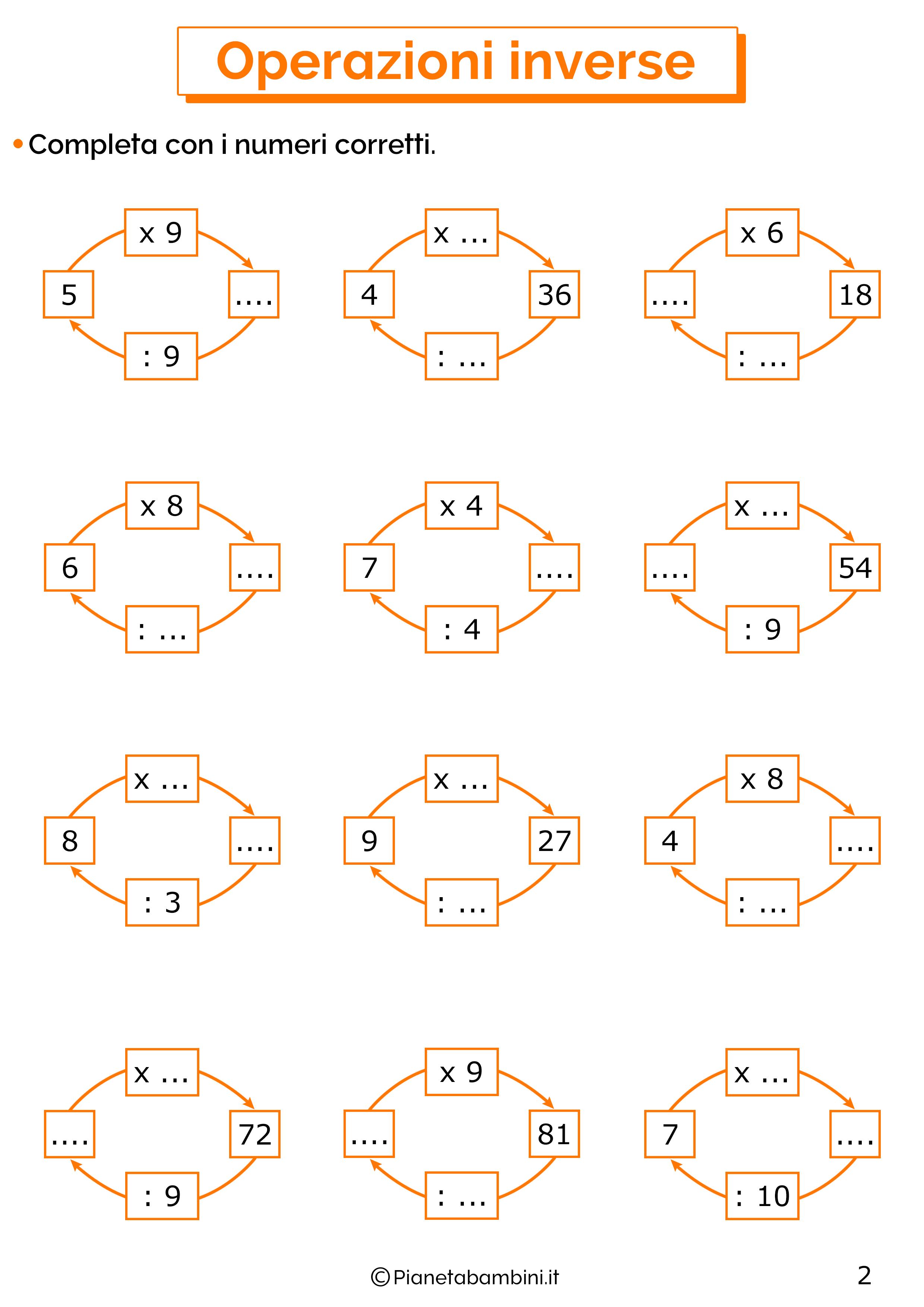 Esercizi sulle operazioni inverse di moltiplicazioni e divisioni 2