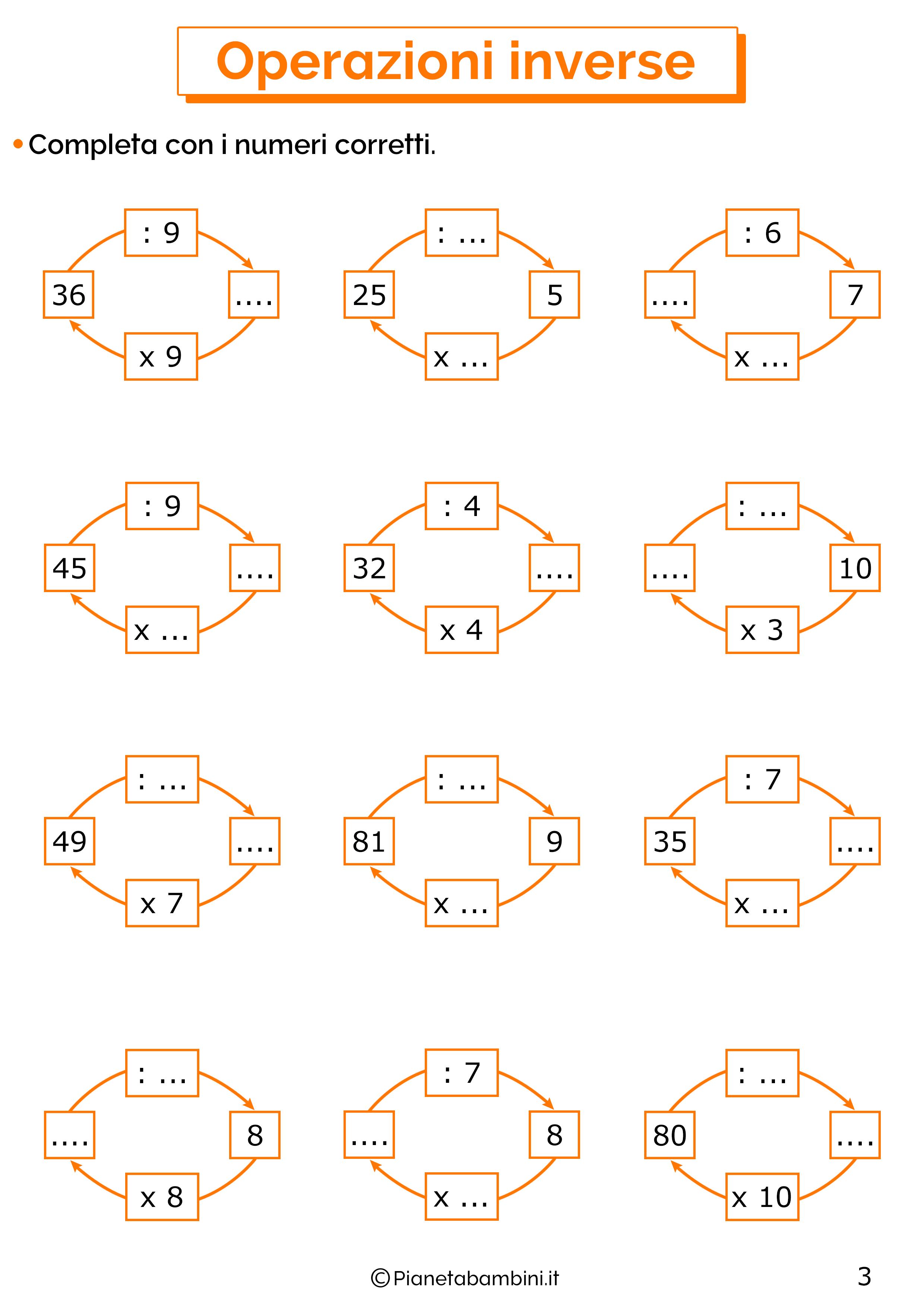 Esercizi sulle operazioni inverse di moltiplicazioni e divisioni 3
