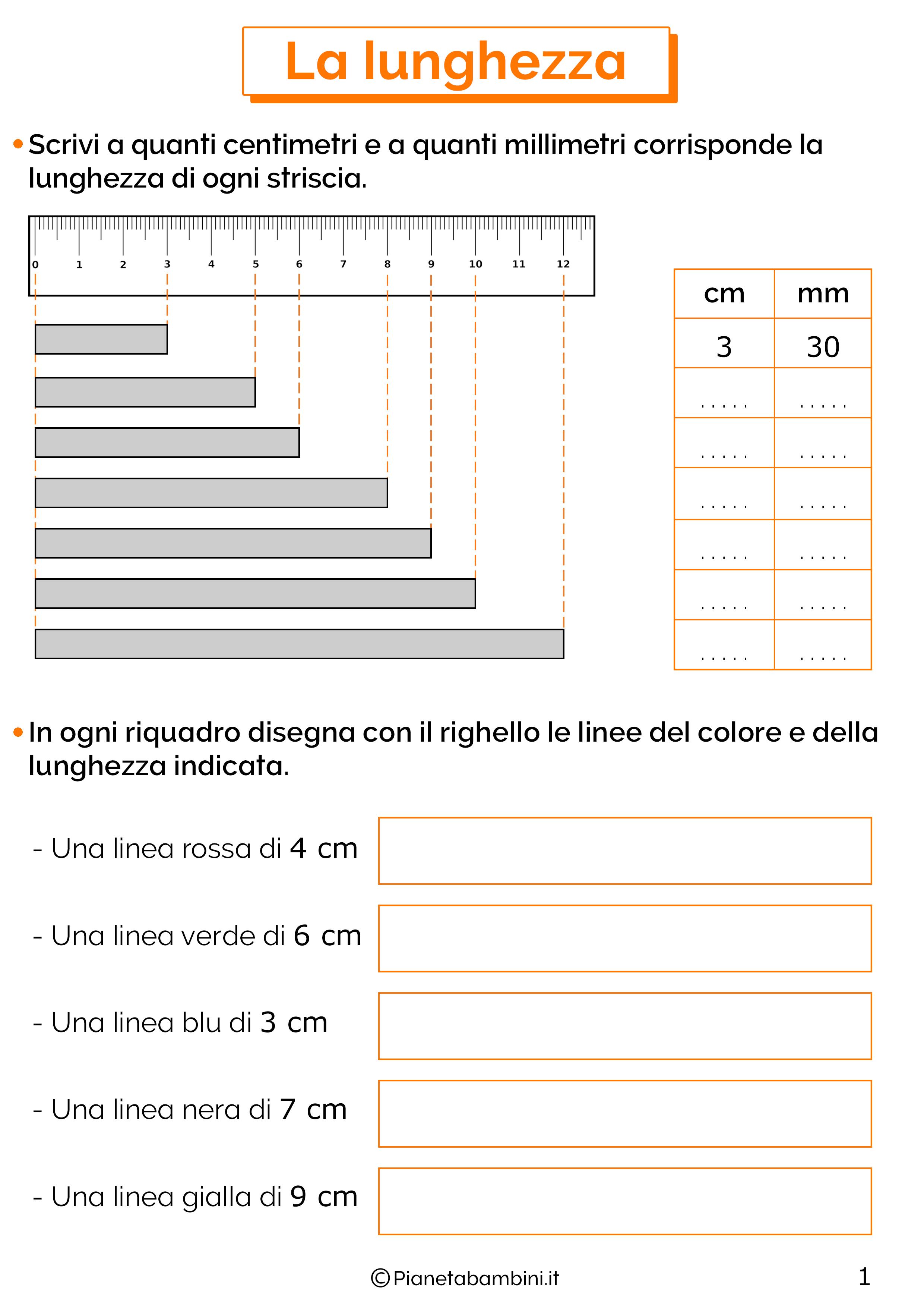 Scheda didattica sulla lunghezza per la classe seconda