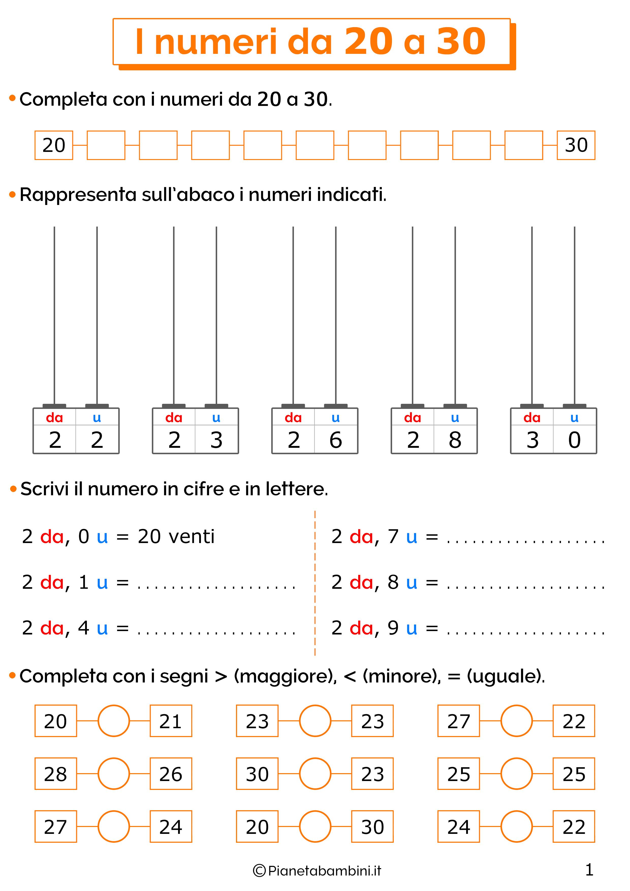 Esercizi sui numeri da 20-30