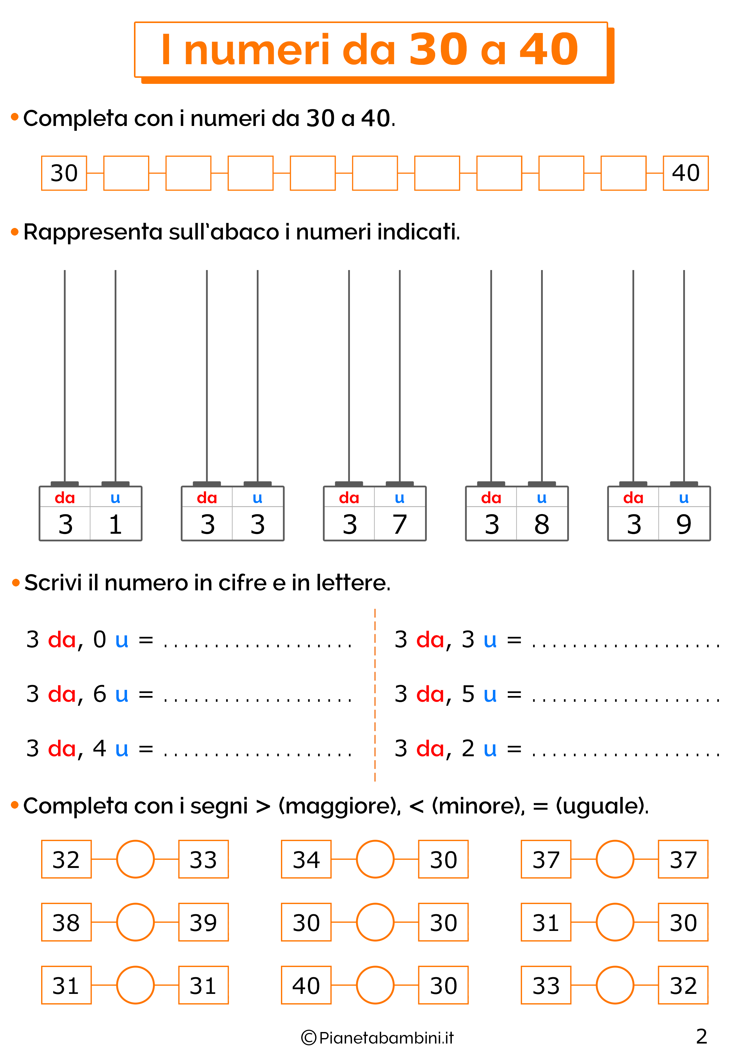 Esercizi sui numeri da 30-40