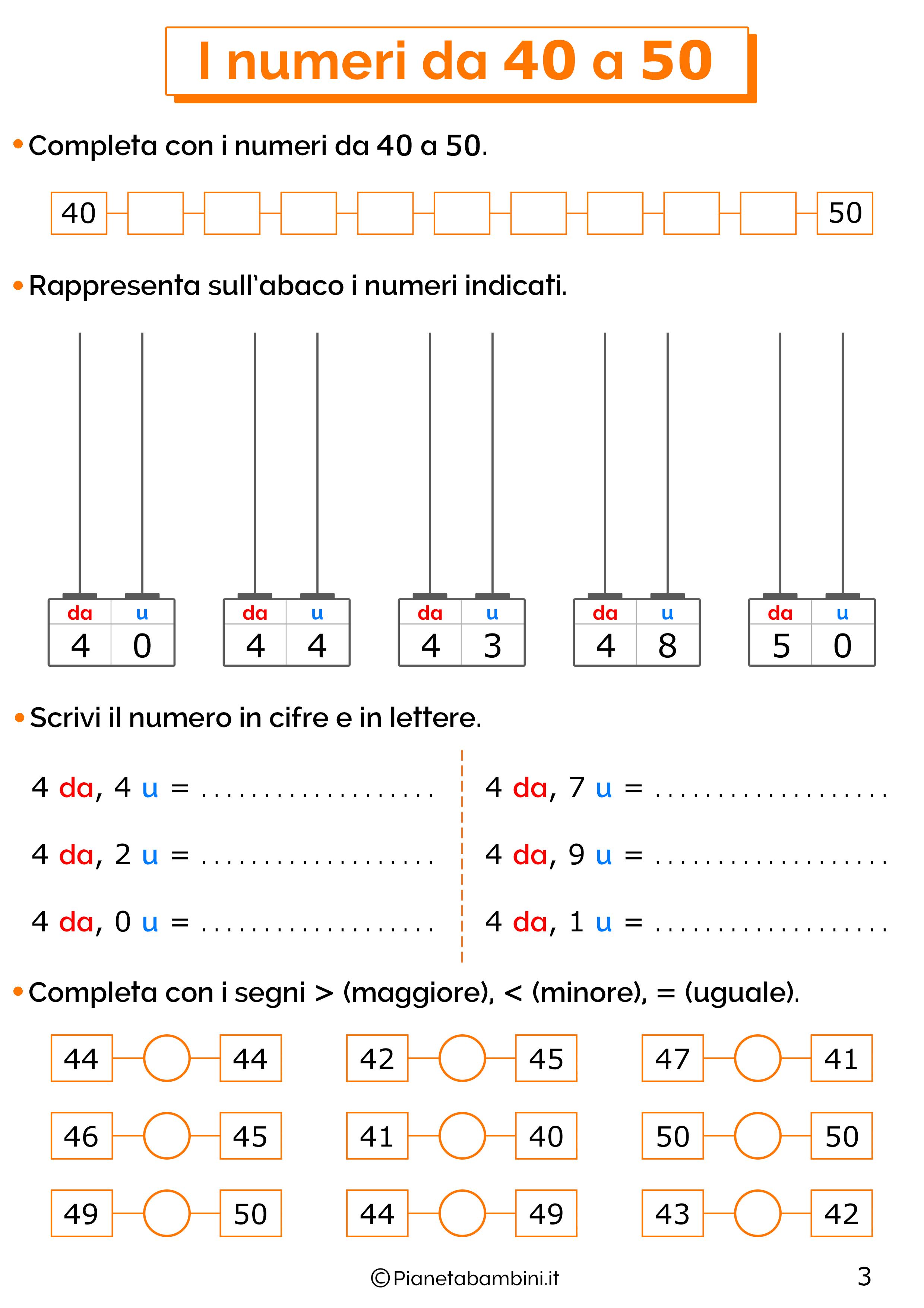 Esercizi sui numeri da 40-50