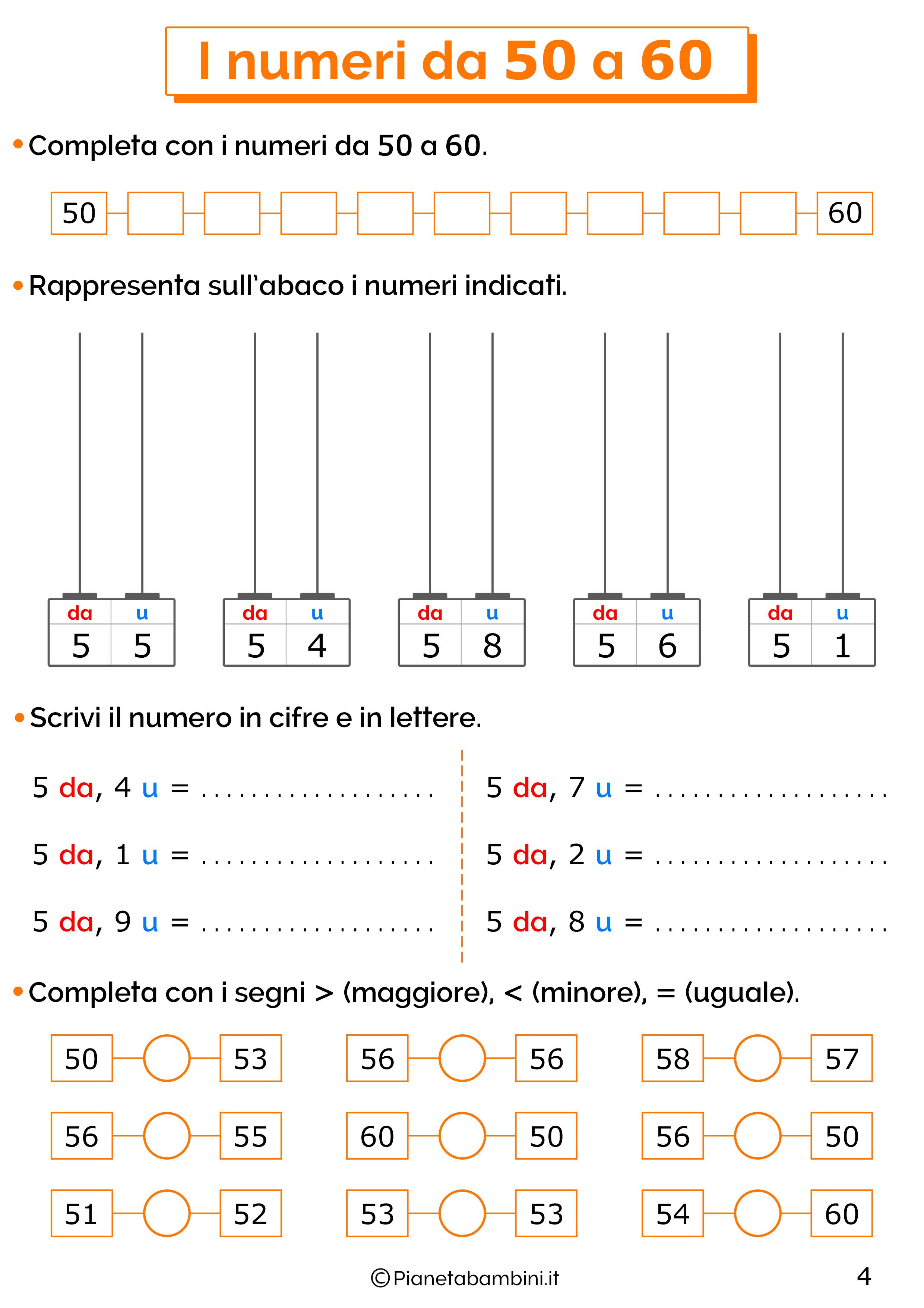 Esercizi sui numeri da 50-60