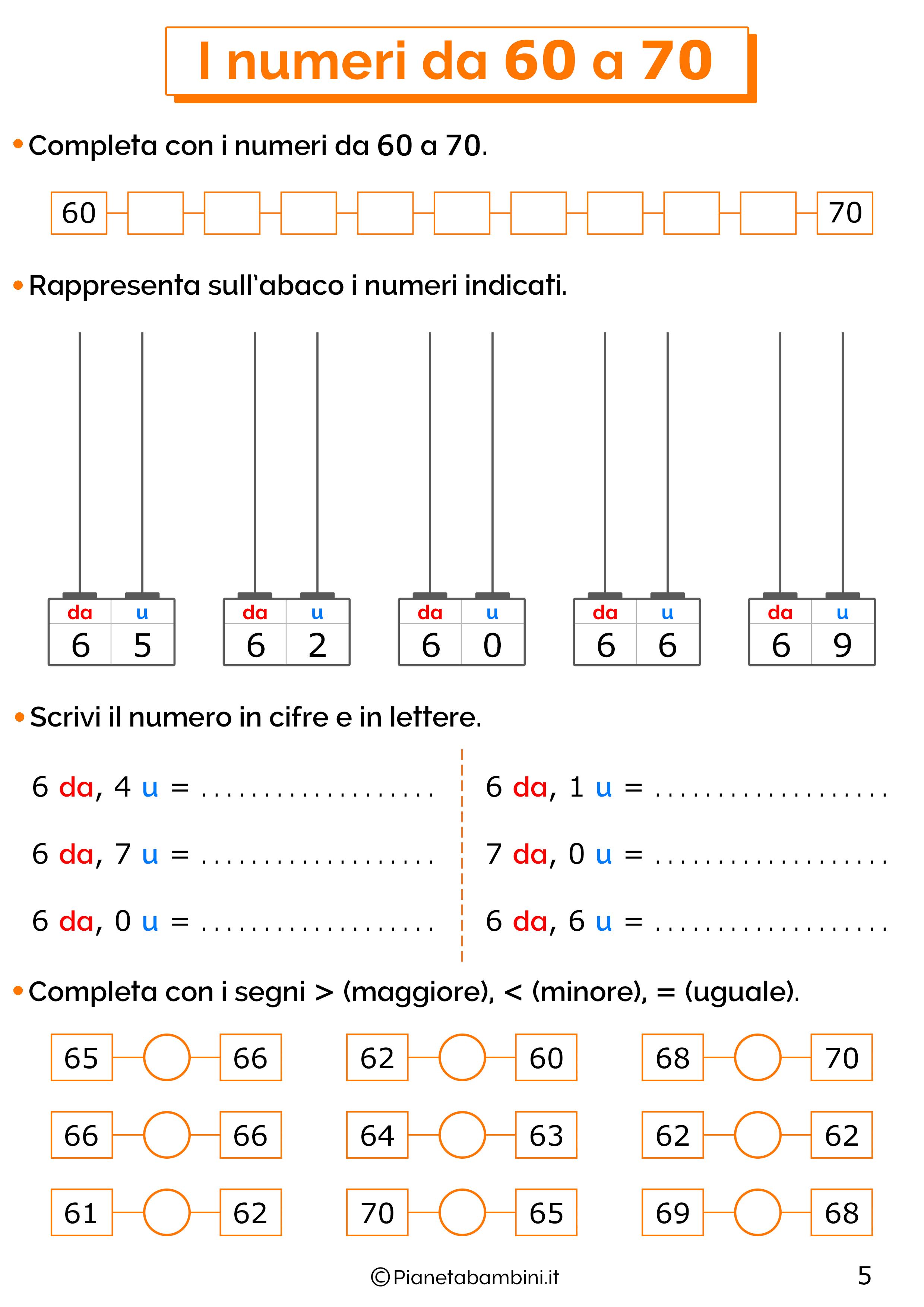 Esercizi sui numeri da 60-70