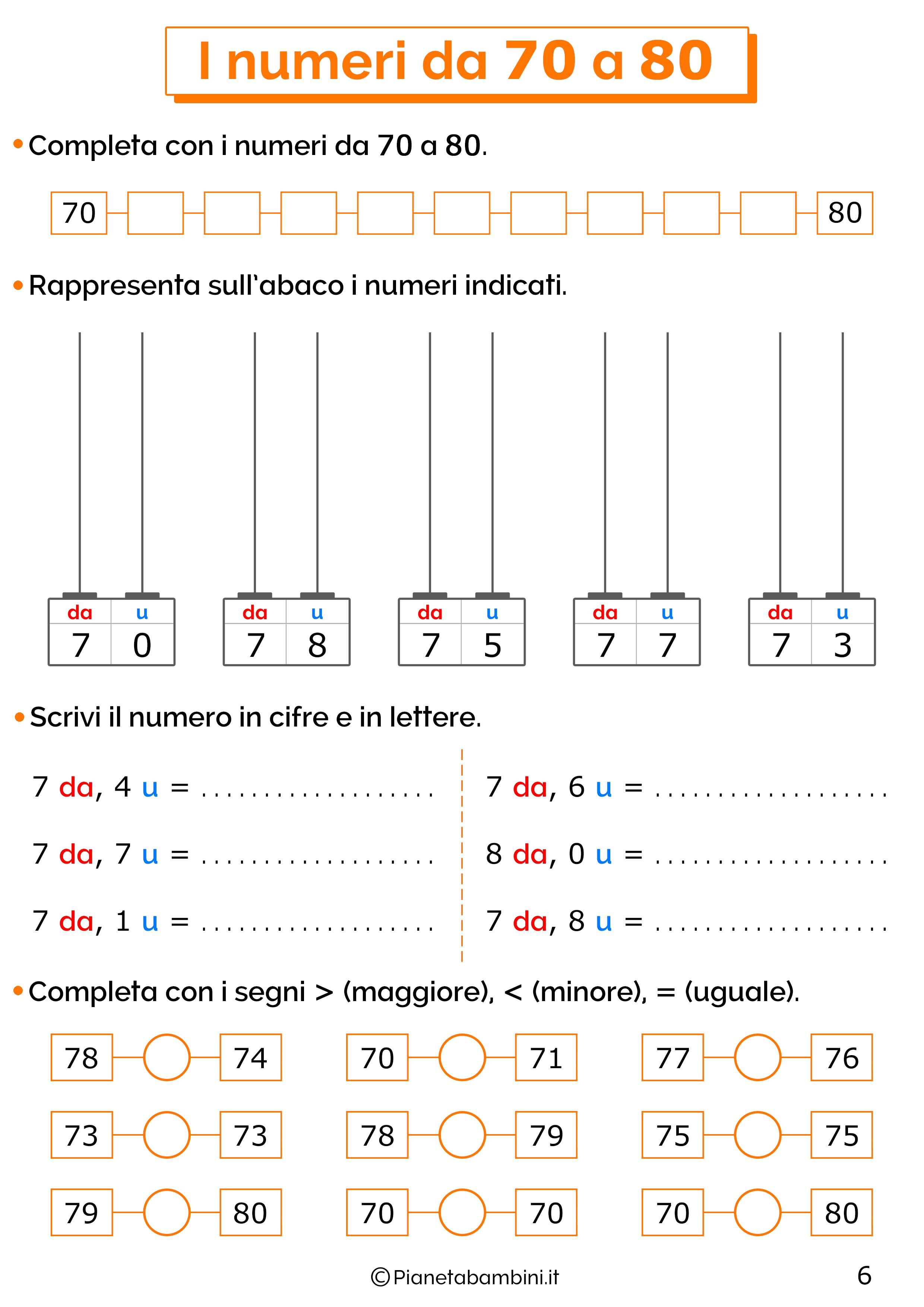 Esercizi sui numeri da 70-80