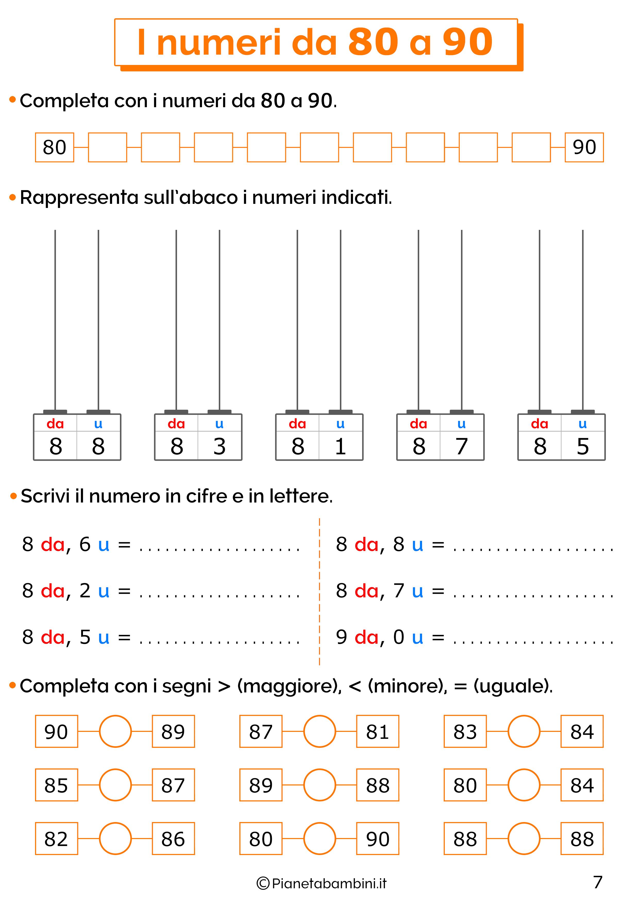 Esercizi sui numeri da 80-90