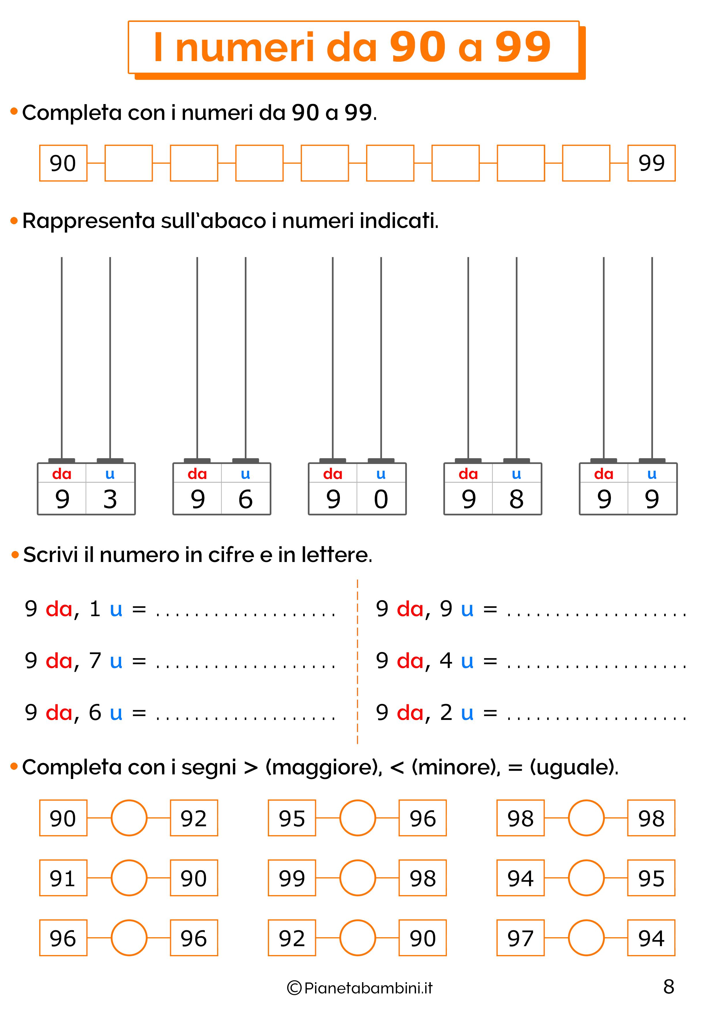 Esercizi sui numeri da 90-99