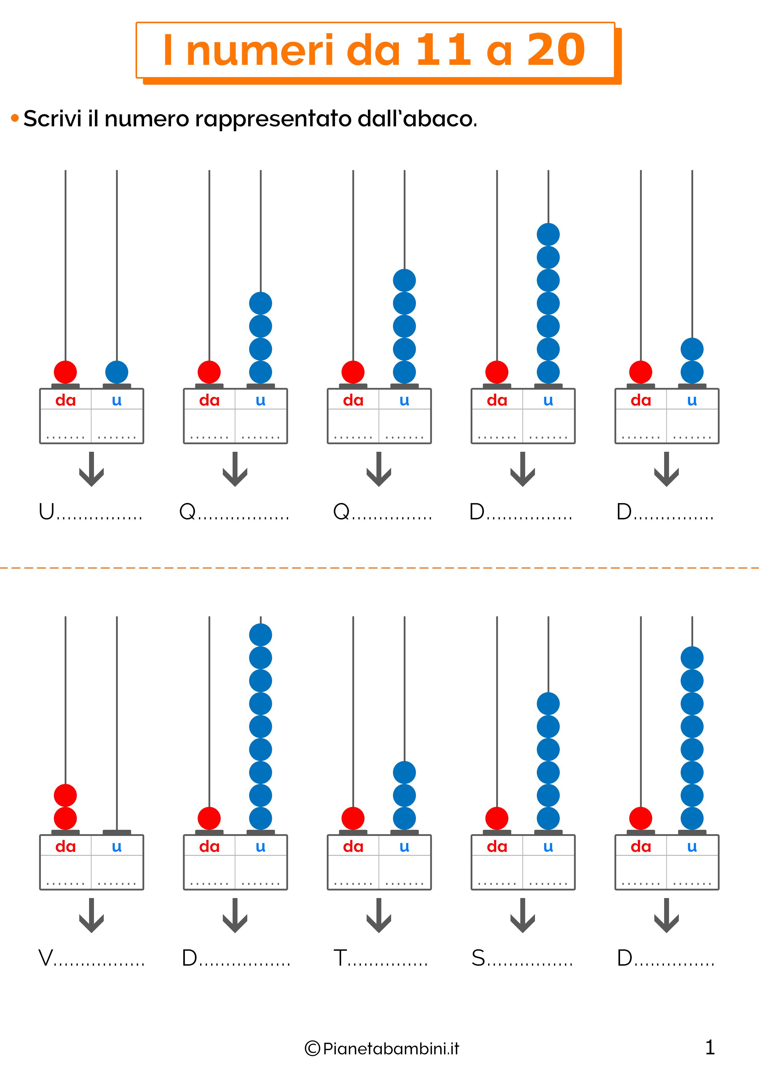 Esercizi sui numeri da undici a venti 1