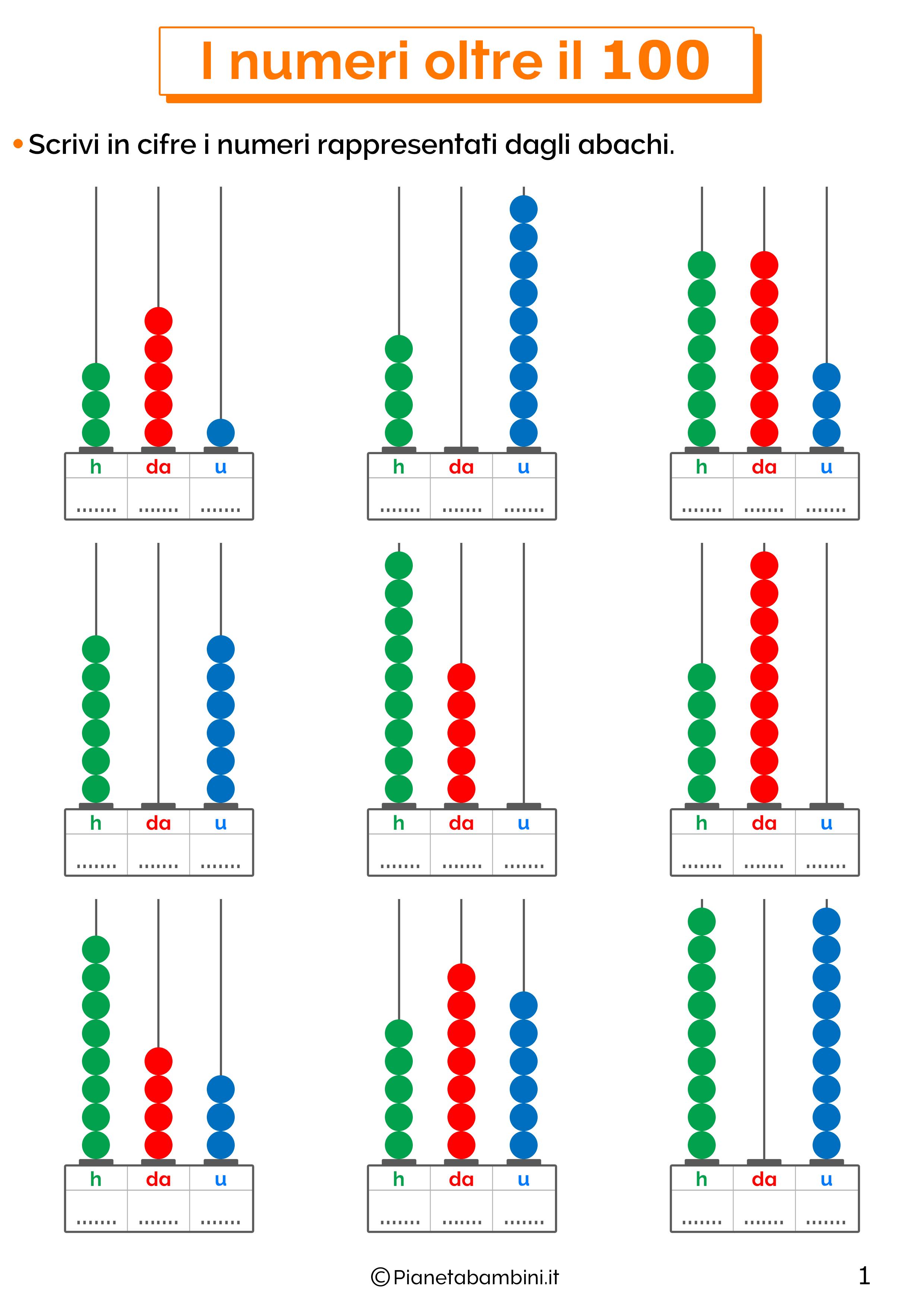 Esercizi sui numeri oltre il 100 per la classe terza 01