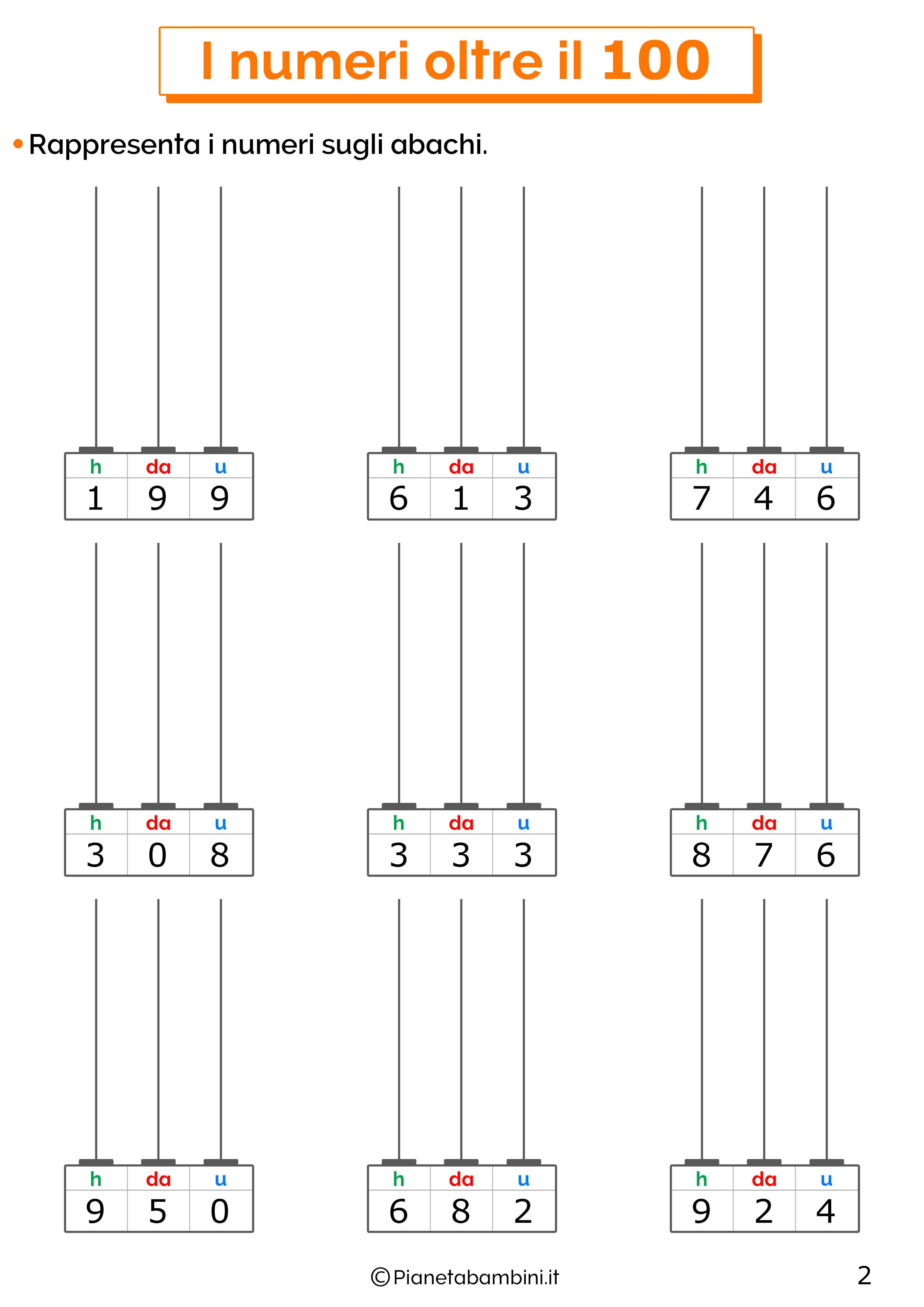Esercizi sui numeri oltre il 100 per la classe terza 02