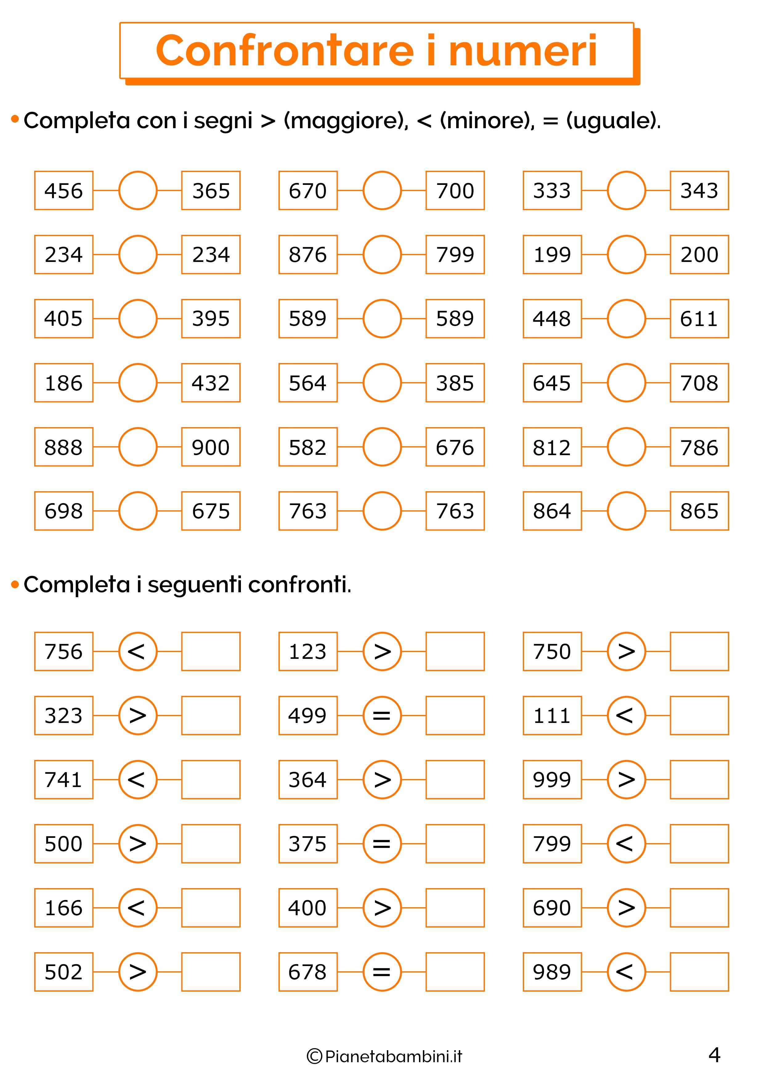 Esercizi sui numeri oltre il 100 per la classe terza 04