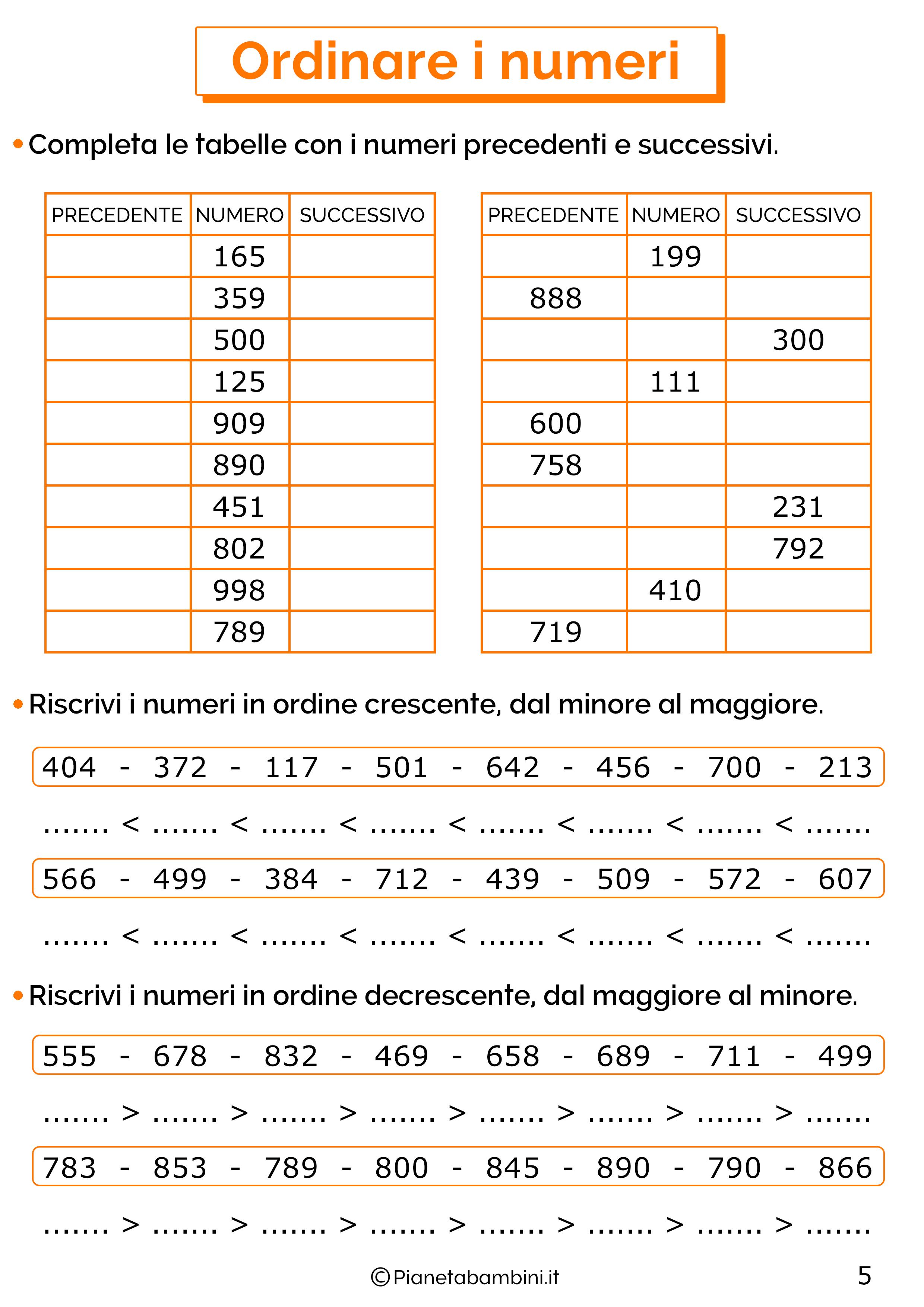 Esercizi sui numeri oltre il 100 per la classe terza 05