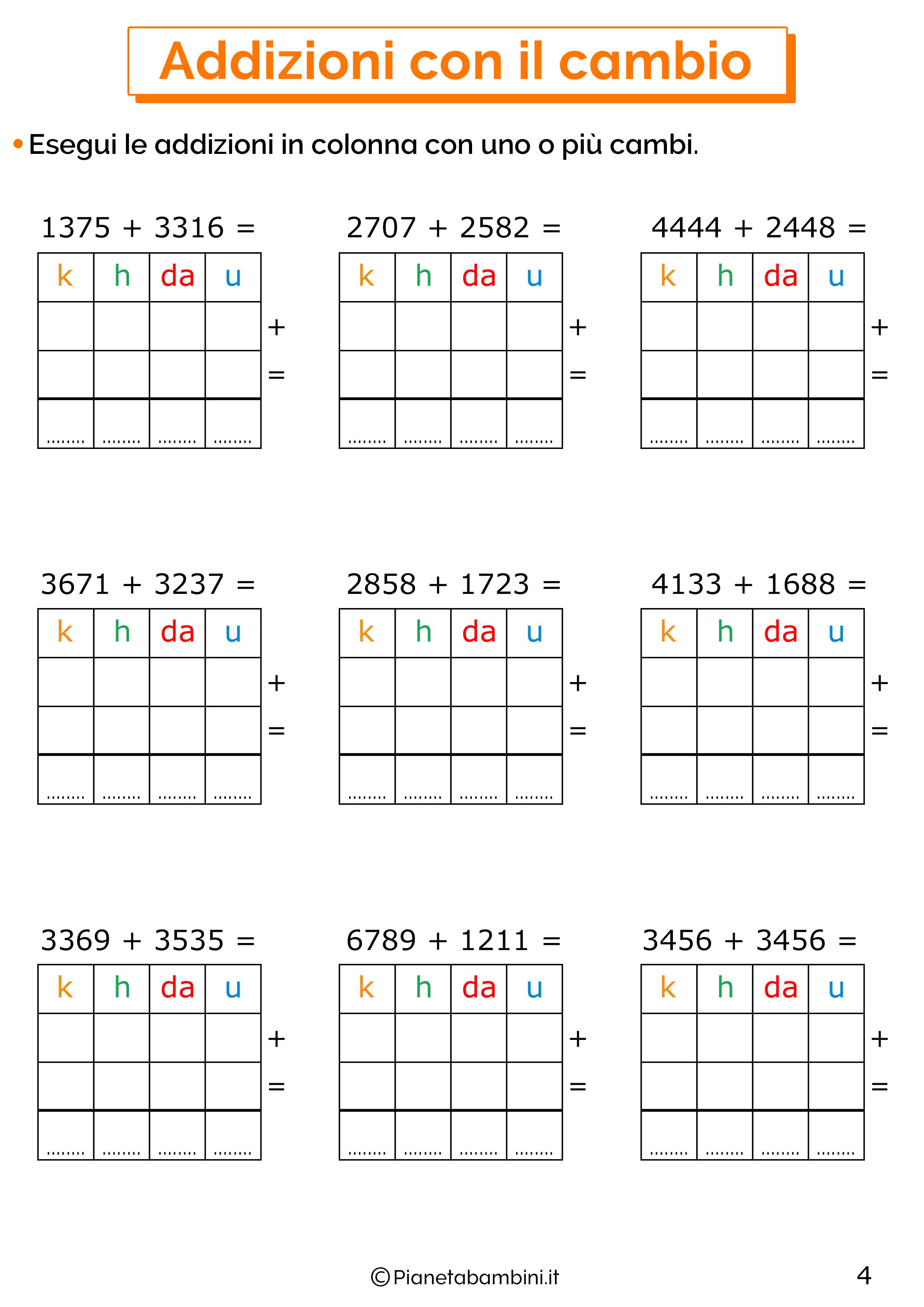 Addizioni in colonna con il cambio a quattro cifre per la classe terza 4