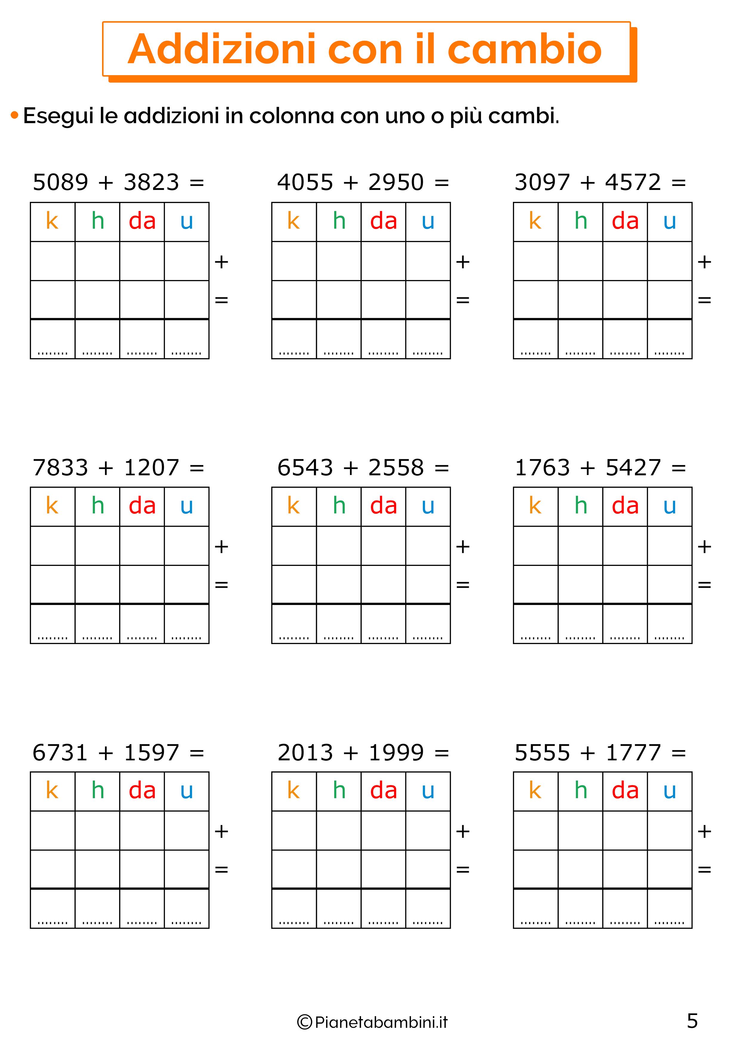 Addizioni in colonna con il cambio a quattro cifre per la classe terza 5