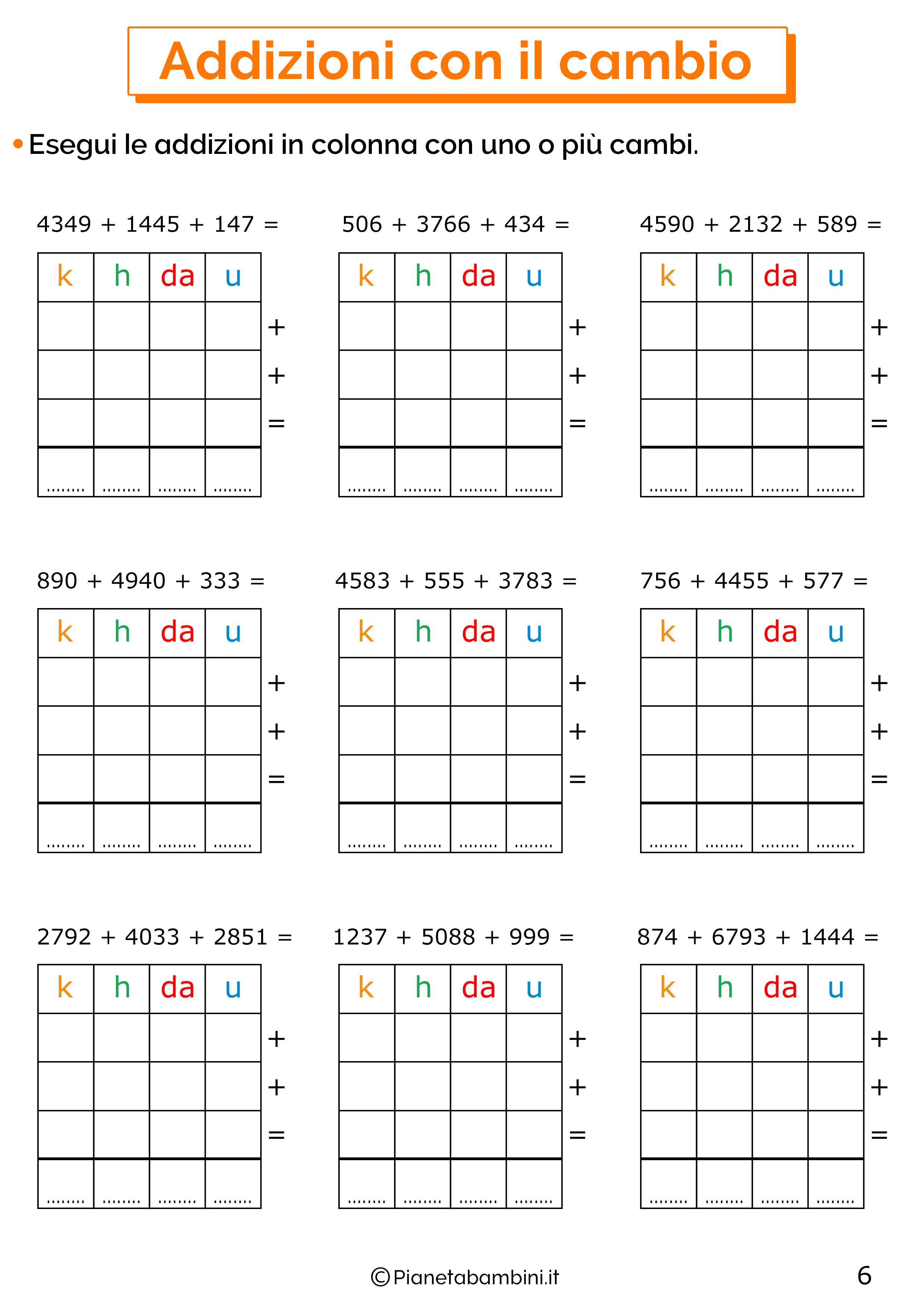 Addizioni in colonna con il cambio a quattro cifre per la classe terza 6