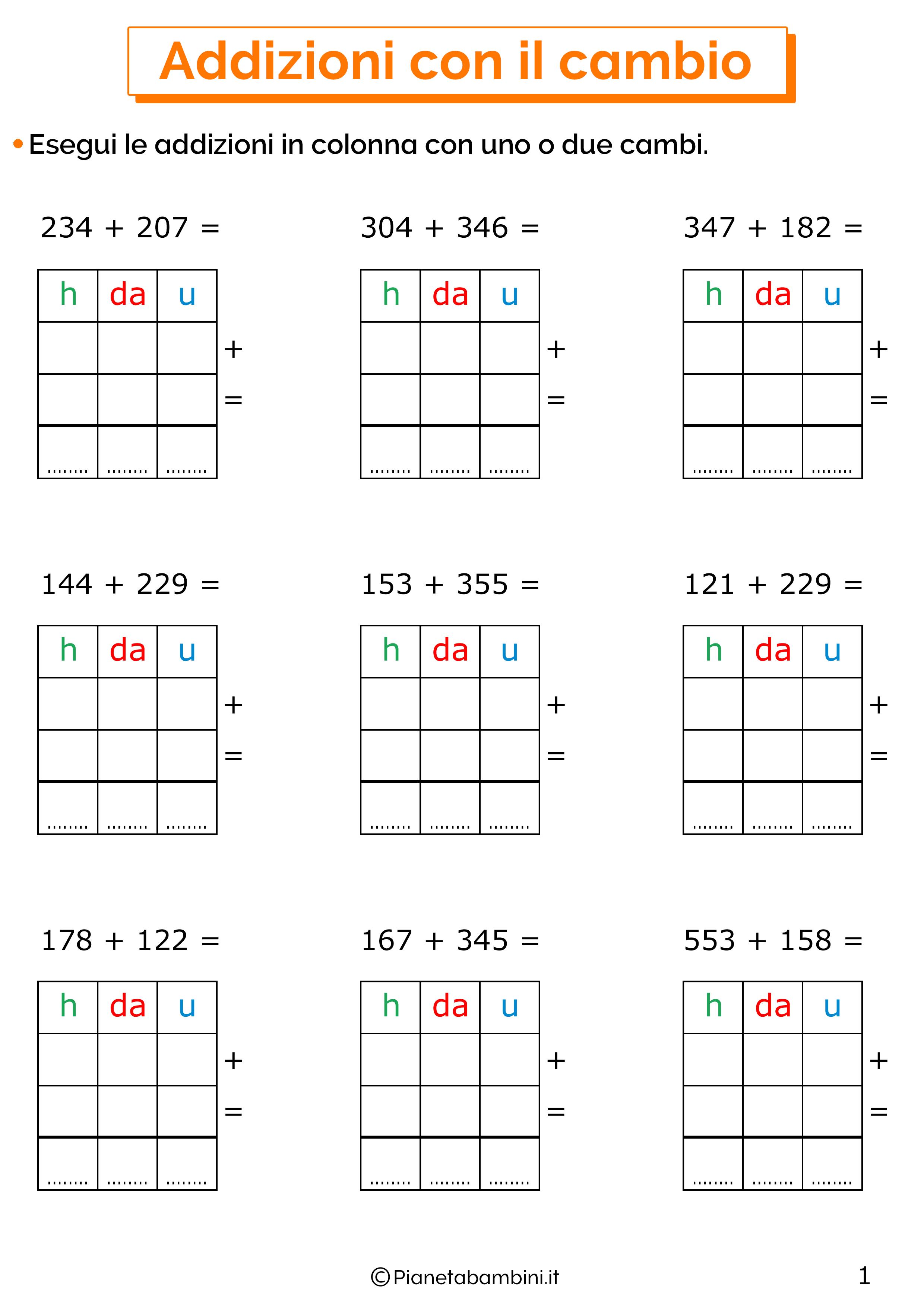 Addizioni in colonna con il cambio a tre cifre per la classe terza 1