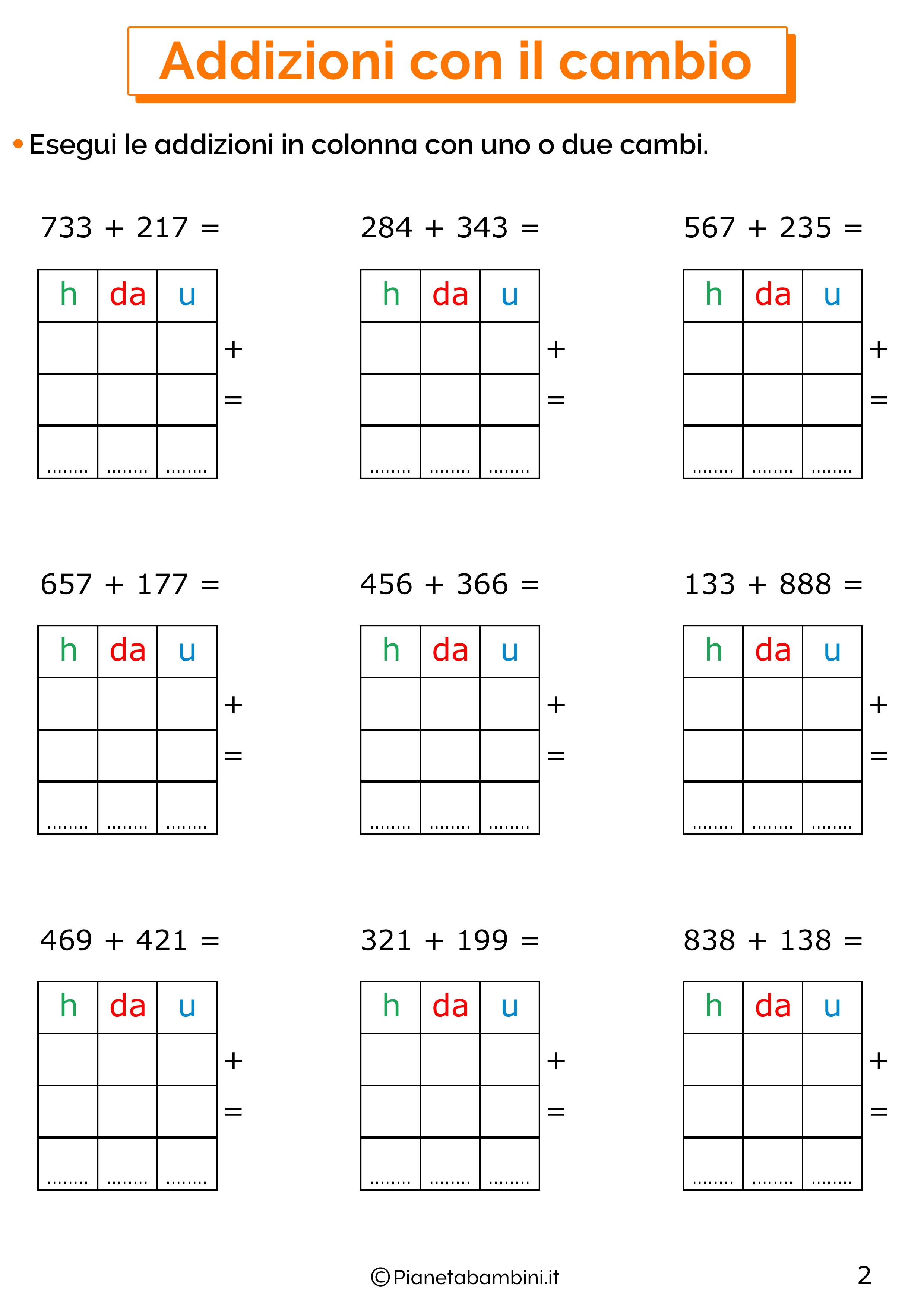 Addizioni in colonna con il cambio a tre cifre per la classe terza 2