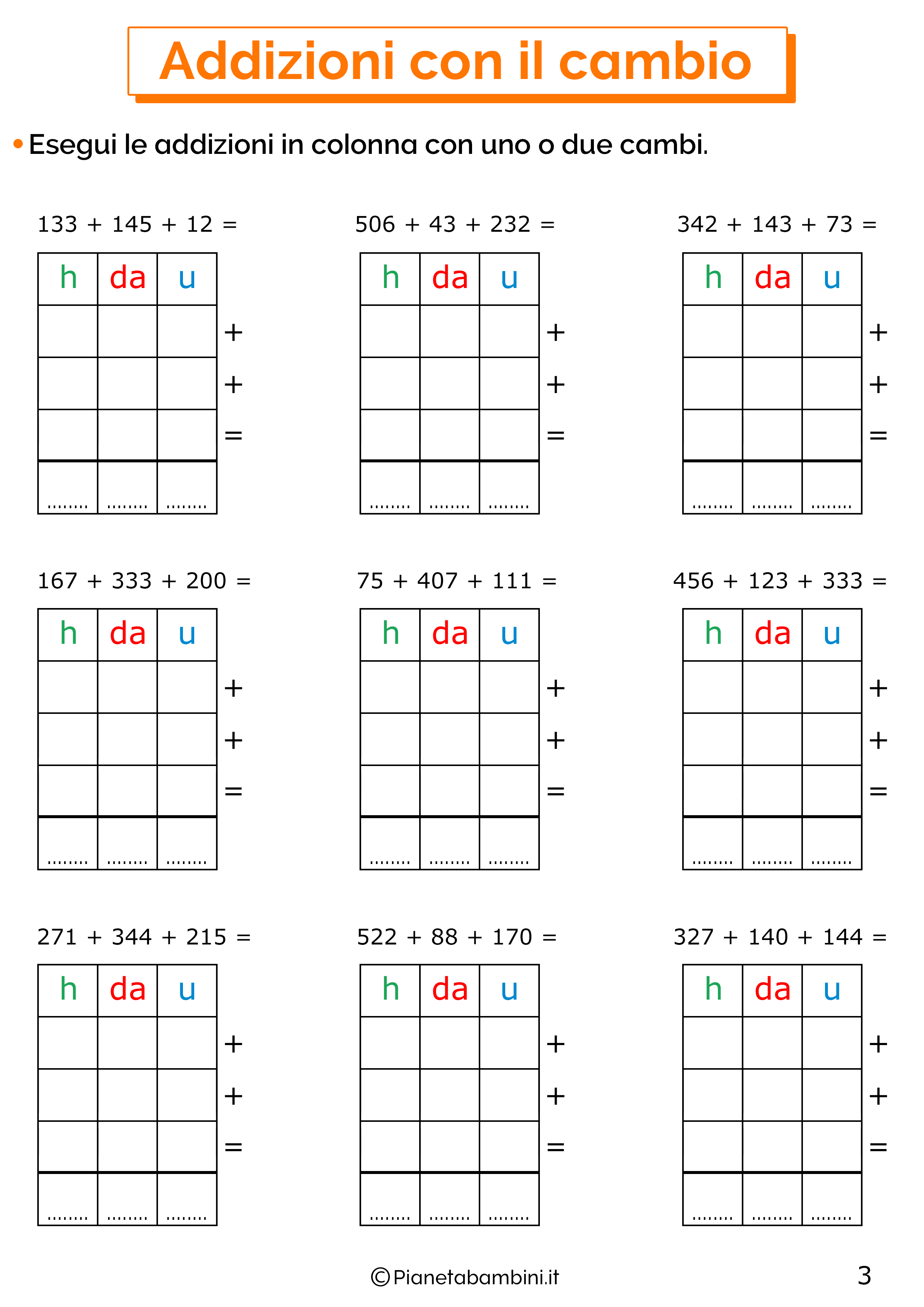Addizioni in colonna con il cambio a tre cifre per la classe terza 3