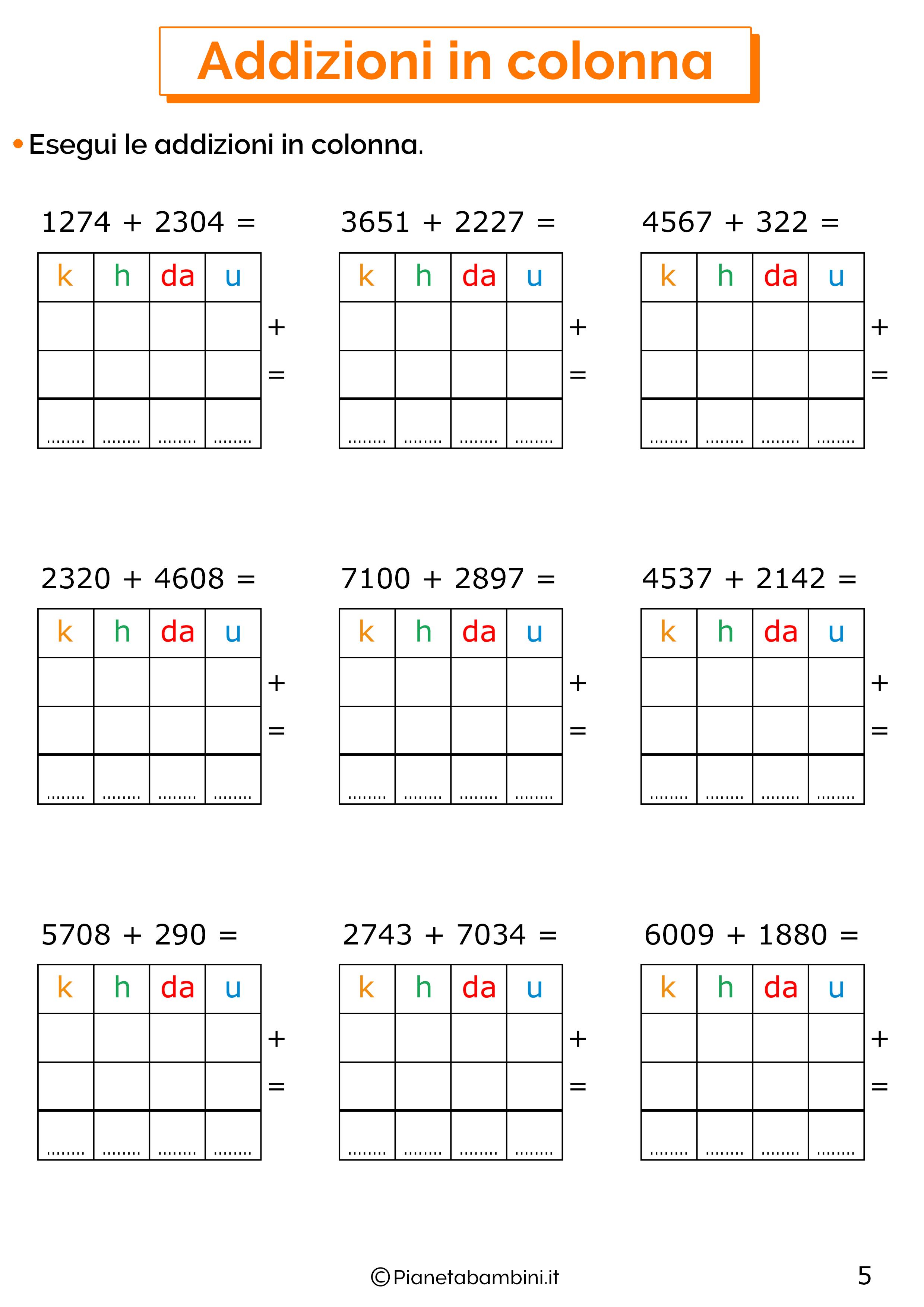 Addizioni in colonna a quattro cifre senza cambio per la classe terza 5