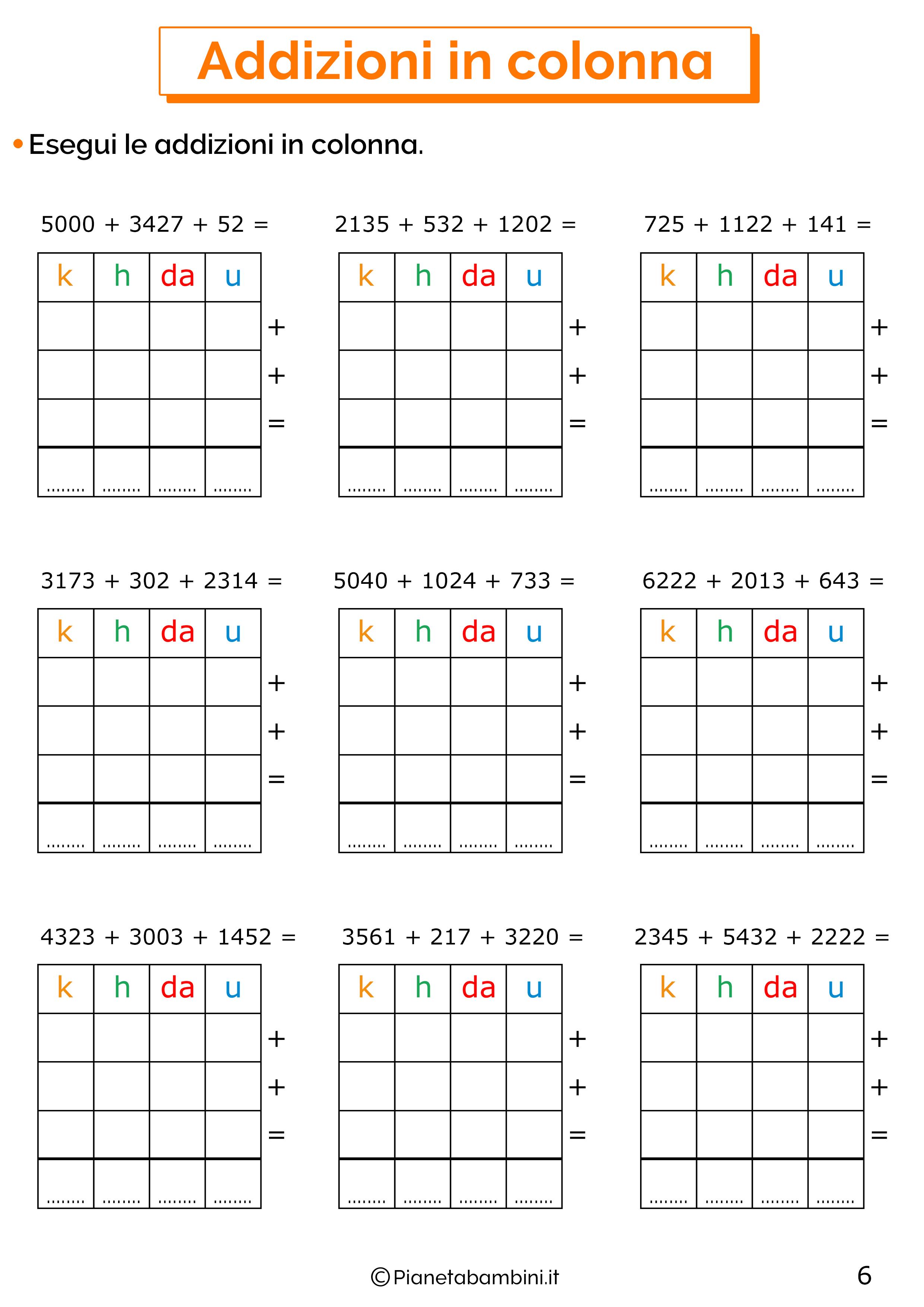 Addizioni in colonna a quattro cifre senza cambio per la classe terza 6