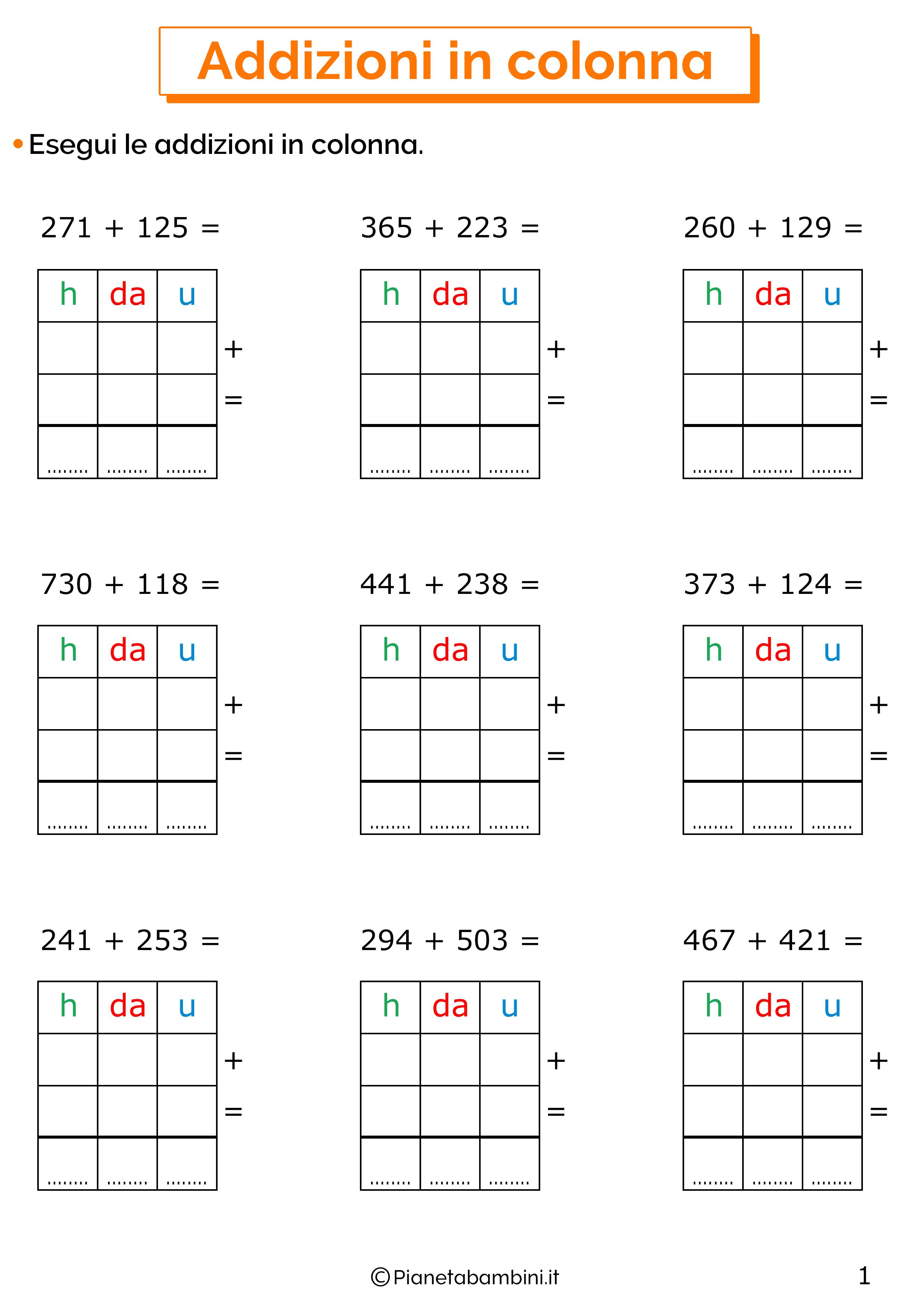 Addizioni in colonna a tre cifre senza cambio per la classe terza 1
