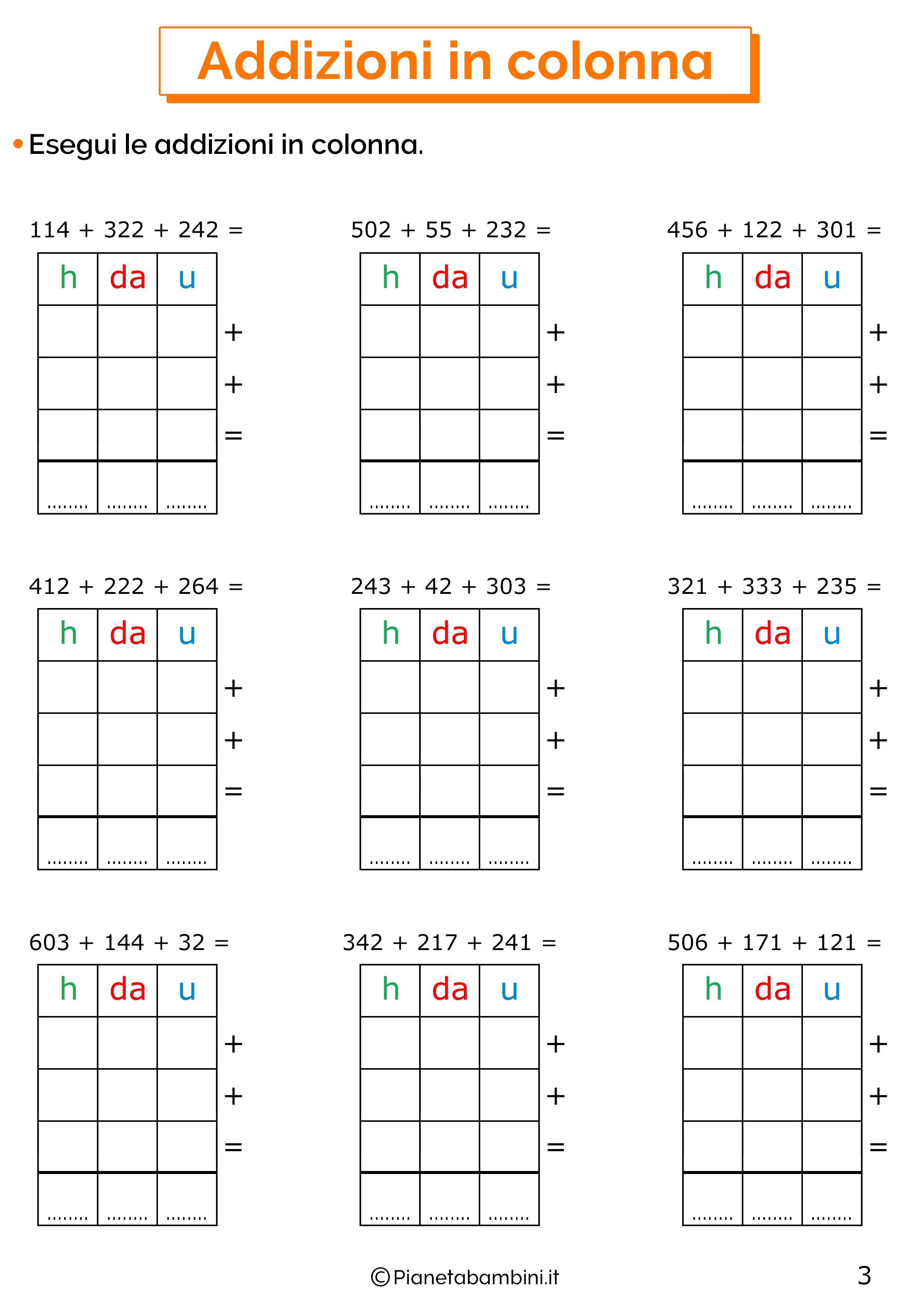 Addizioni in colonna a tre cifre senza cambio per la classe terza 3