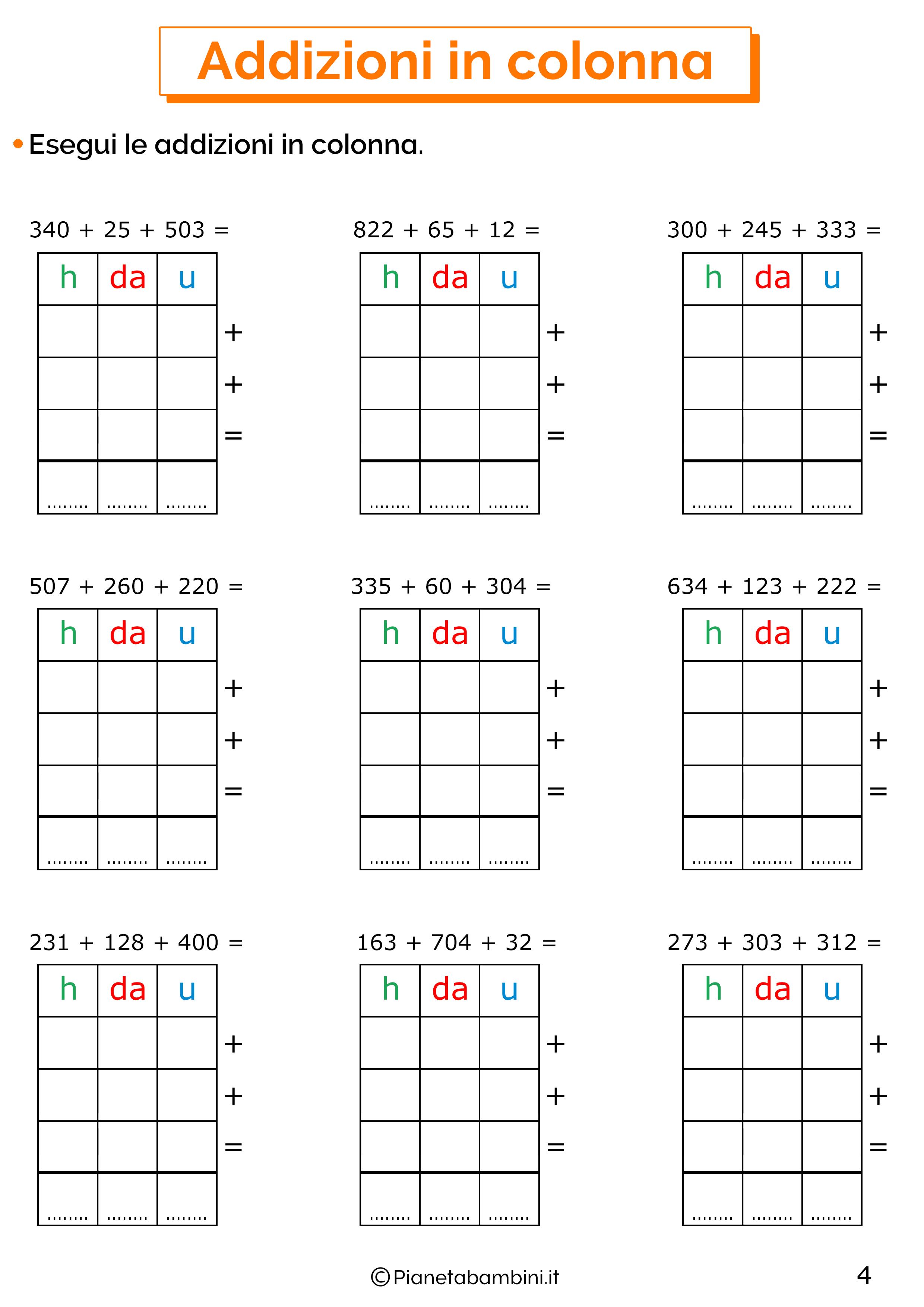 Addizioni in colonna a tre cifre senza cambio per la classe terza 4