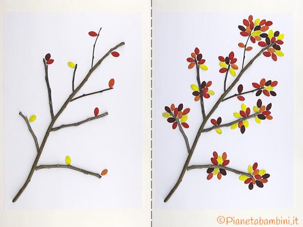 Foglie con semi di zucca per l'albero autunnale