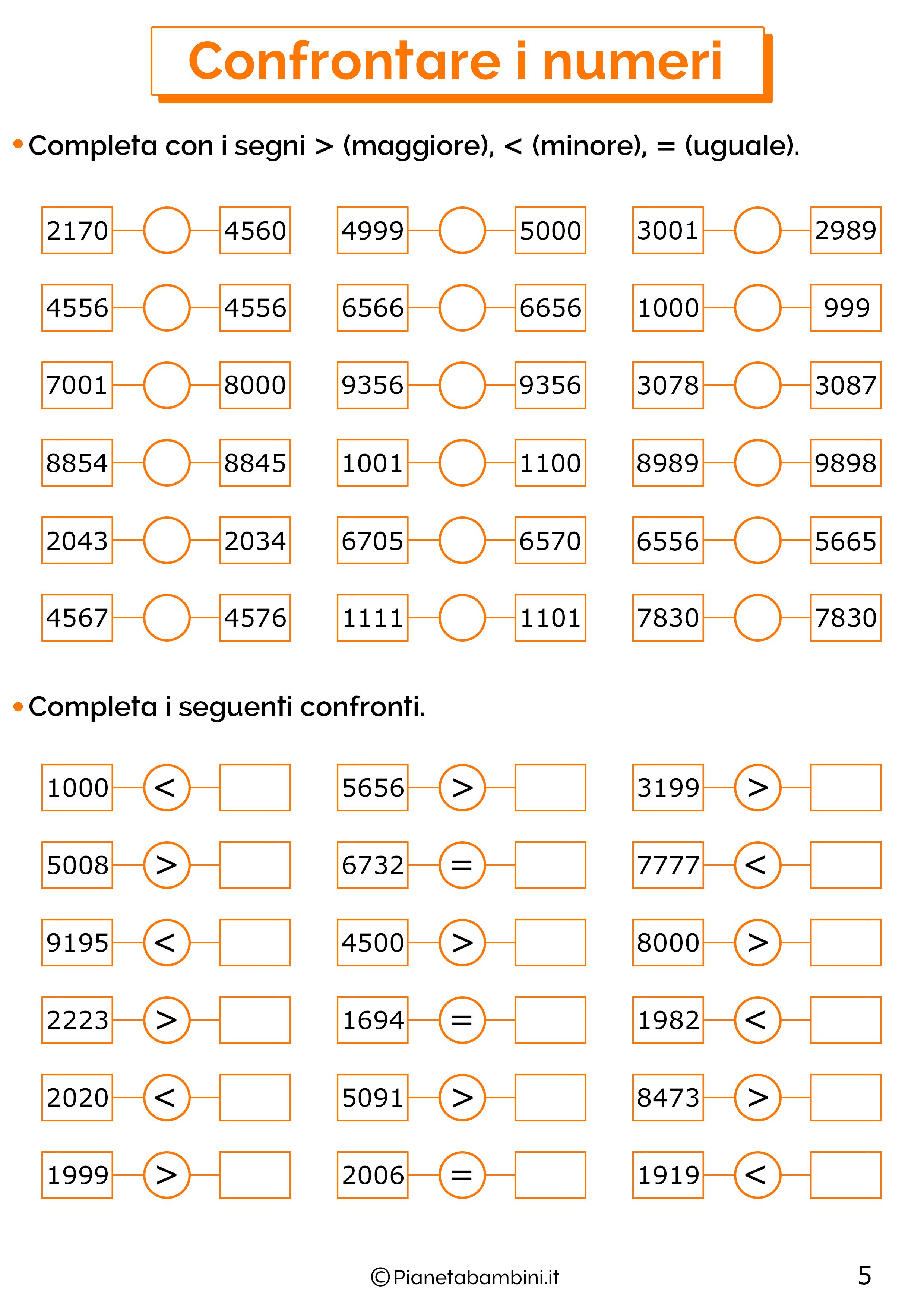 Esercizi sui numeri oltre il mille 5