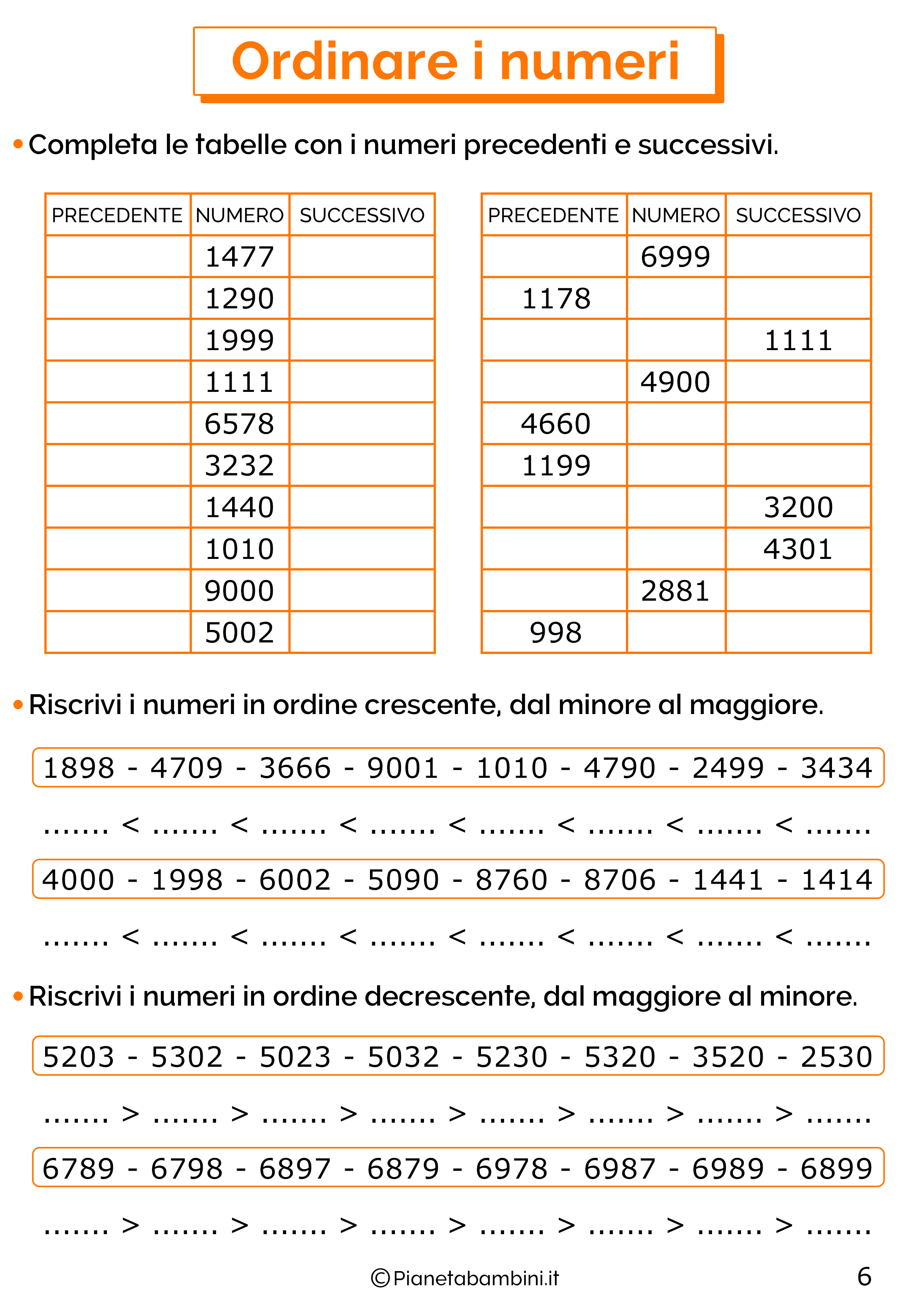 Esercizi sui numeri oltre il mille 6