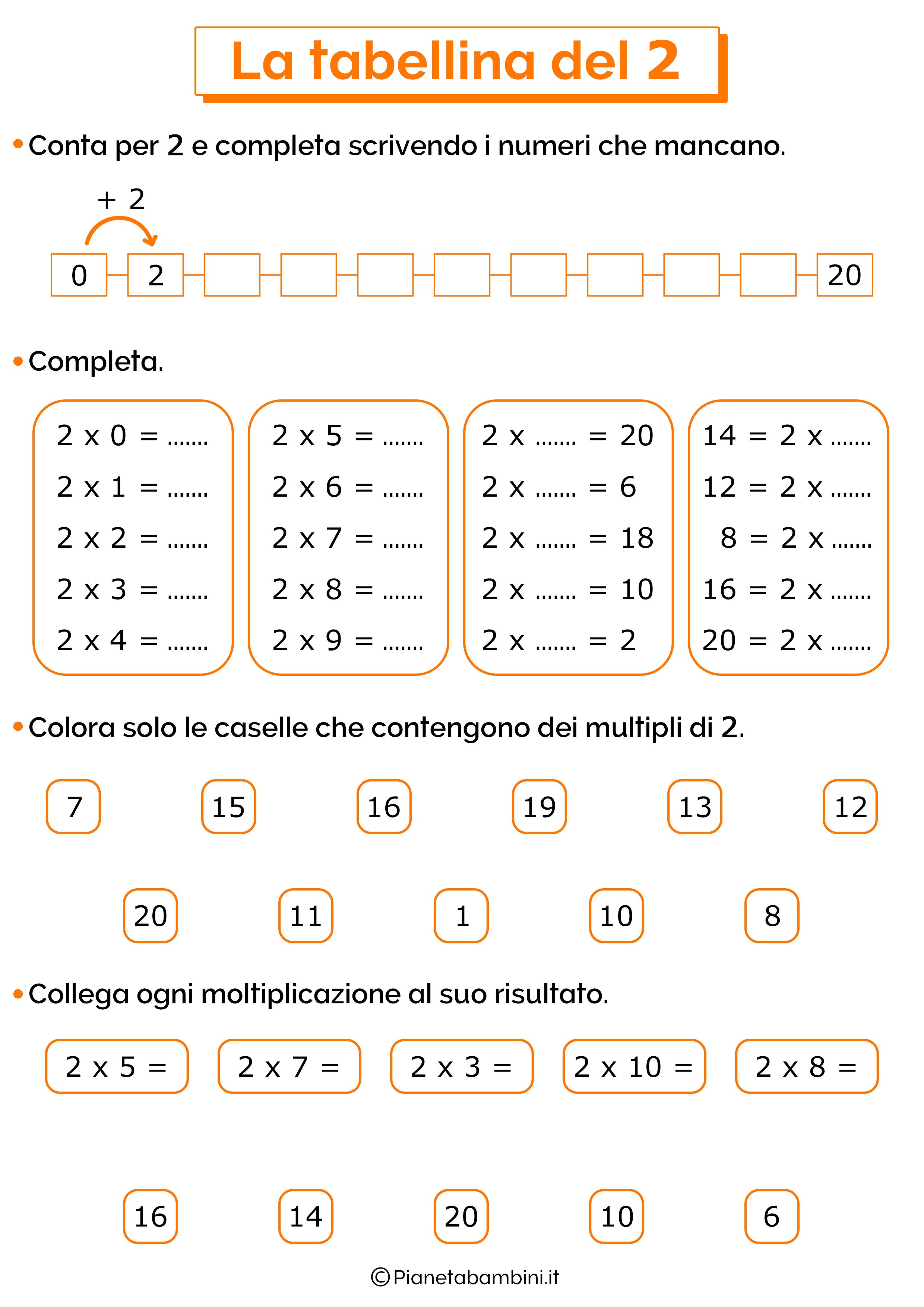 Esercizi sulla tabellina del 2